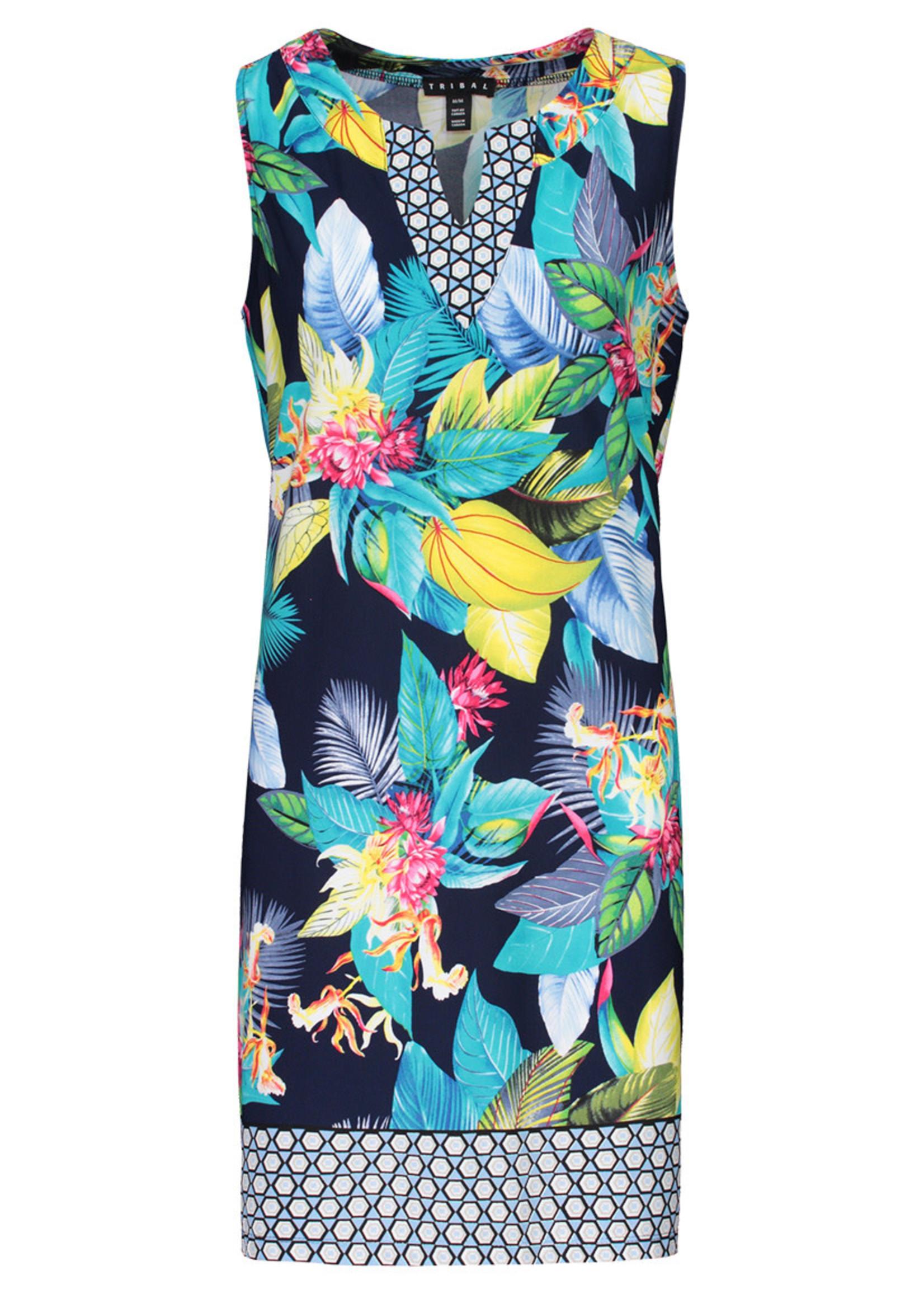 Tribal Tribal Deep Blue Notch Collar Sleeveless Dress