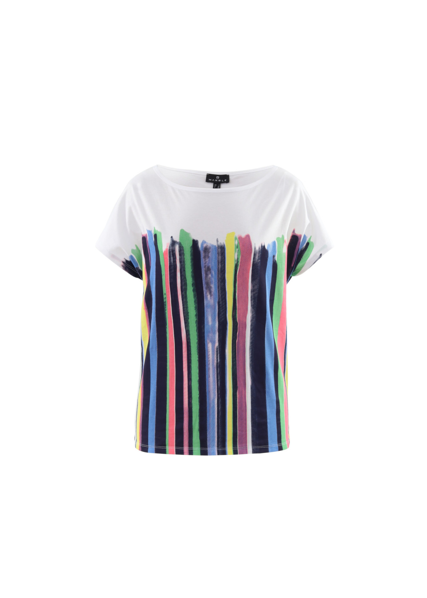 Marble Marble Top Cap Sleeve w/Coloured Stripes