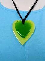 Zsiska Double Heart Pendant, Lime Green