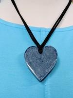 Zsiska Small Heart Pendant, Denim/Navy Blue