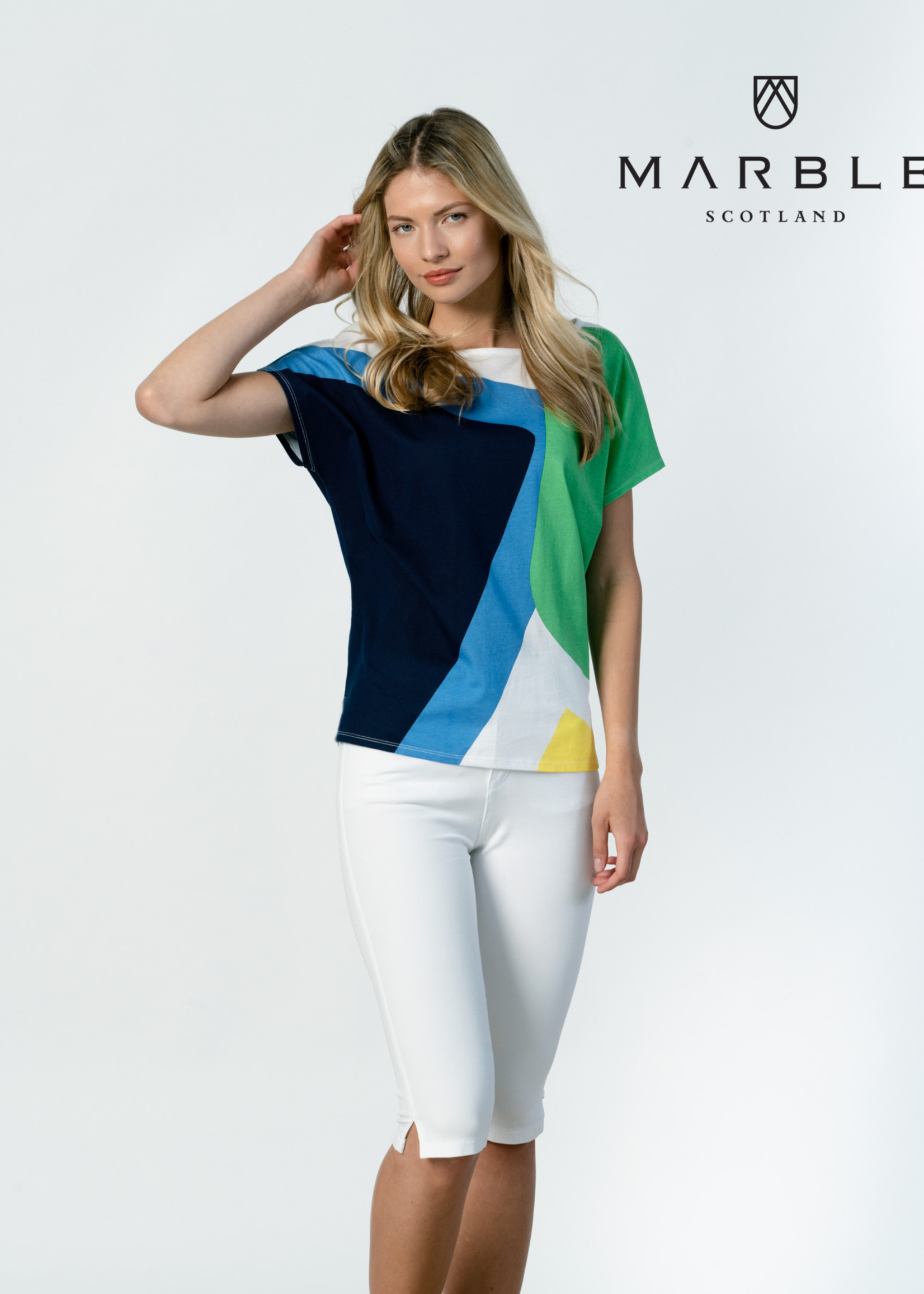 Marble Marble Top Short Sleeve, Colour Blocks