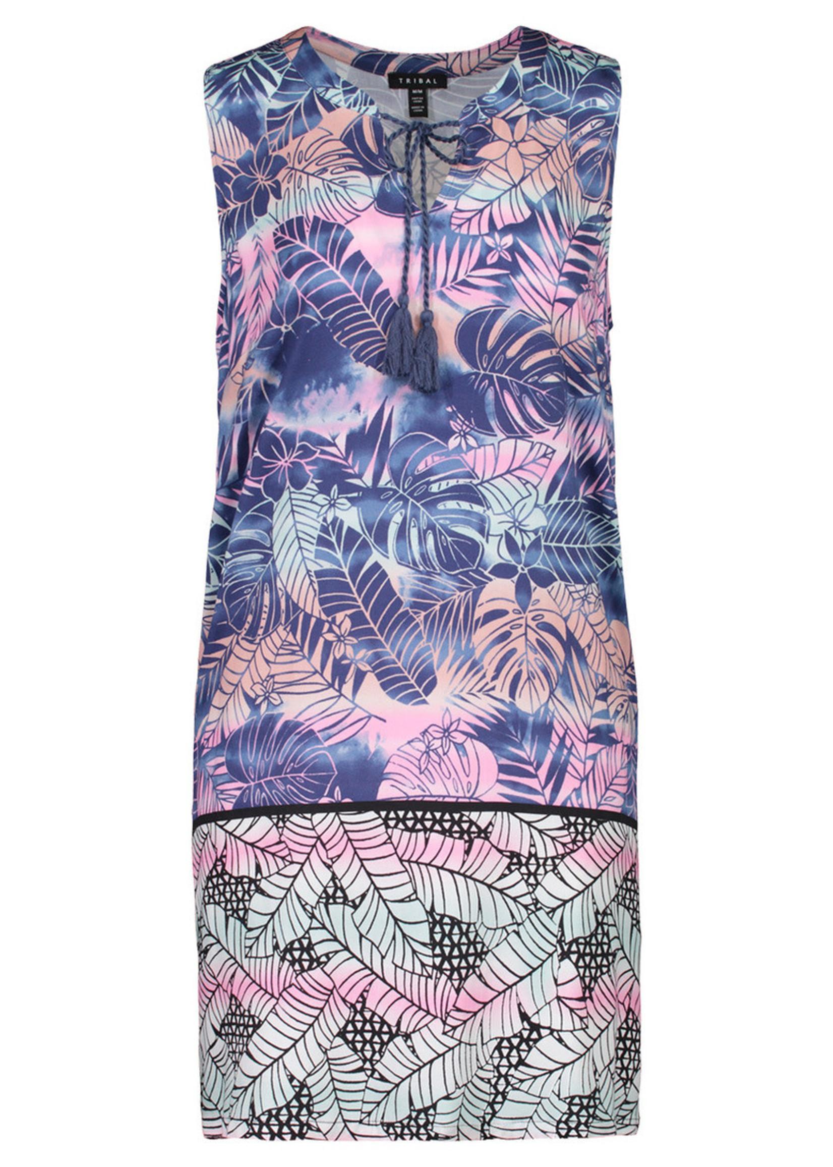 Tribal Tribal Sleeveless Dress with Tassels
