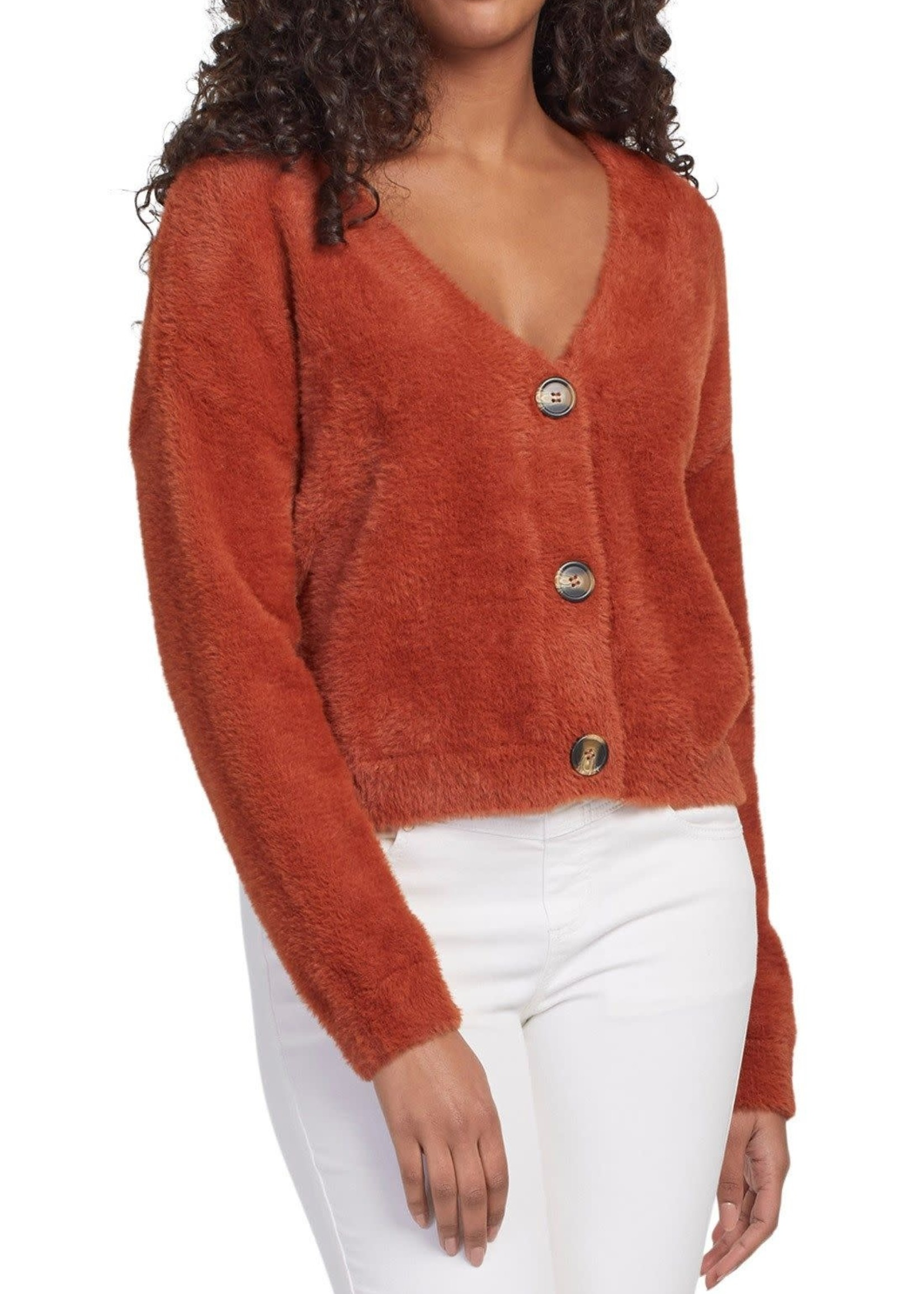 Tribal Tribal L/S Crop Button Front Sweater Cardigan