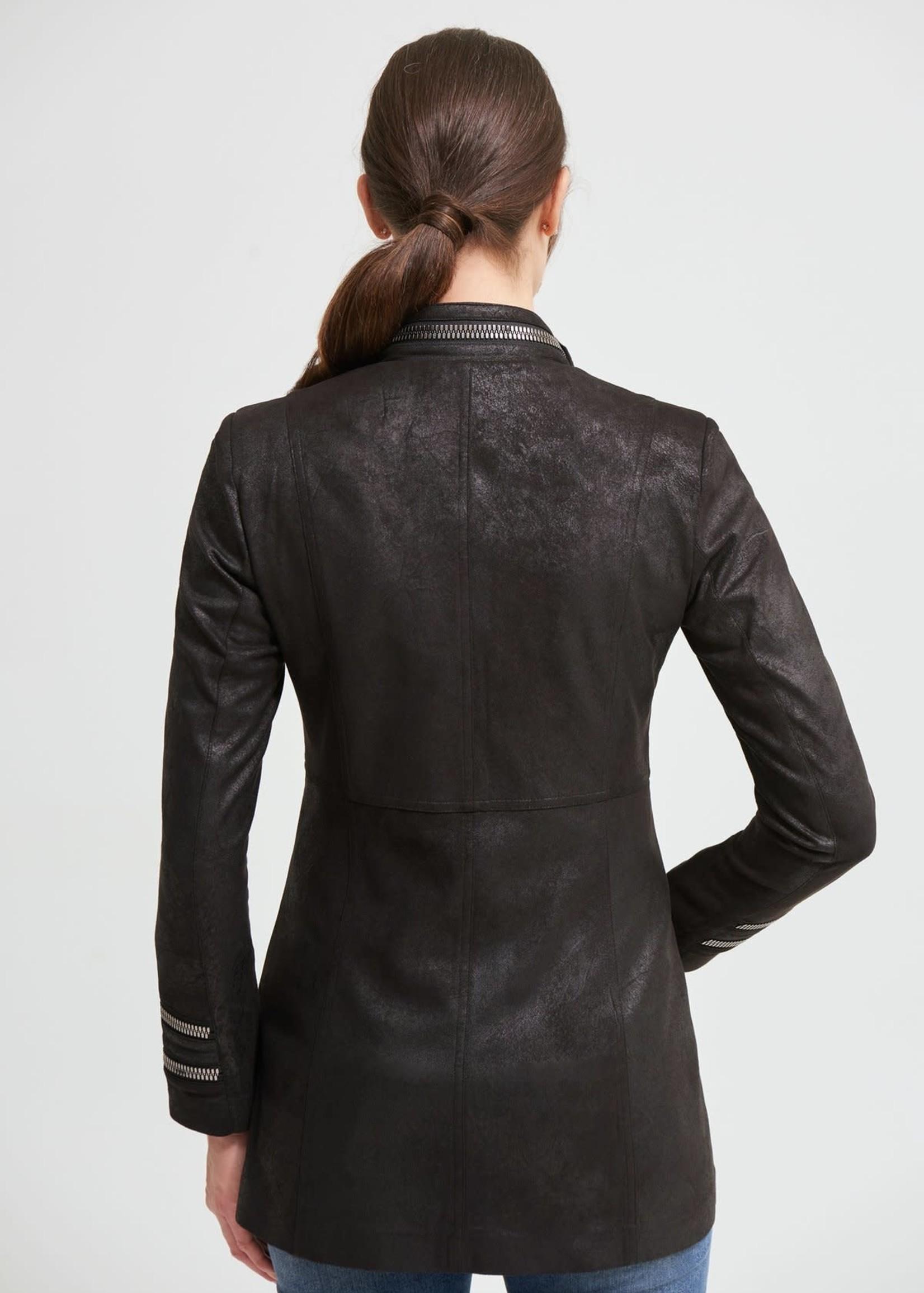 Joseph Ribkoff Joseph Ribkoff Faux Suede Jacket w/ Zipper Accents