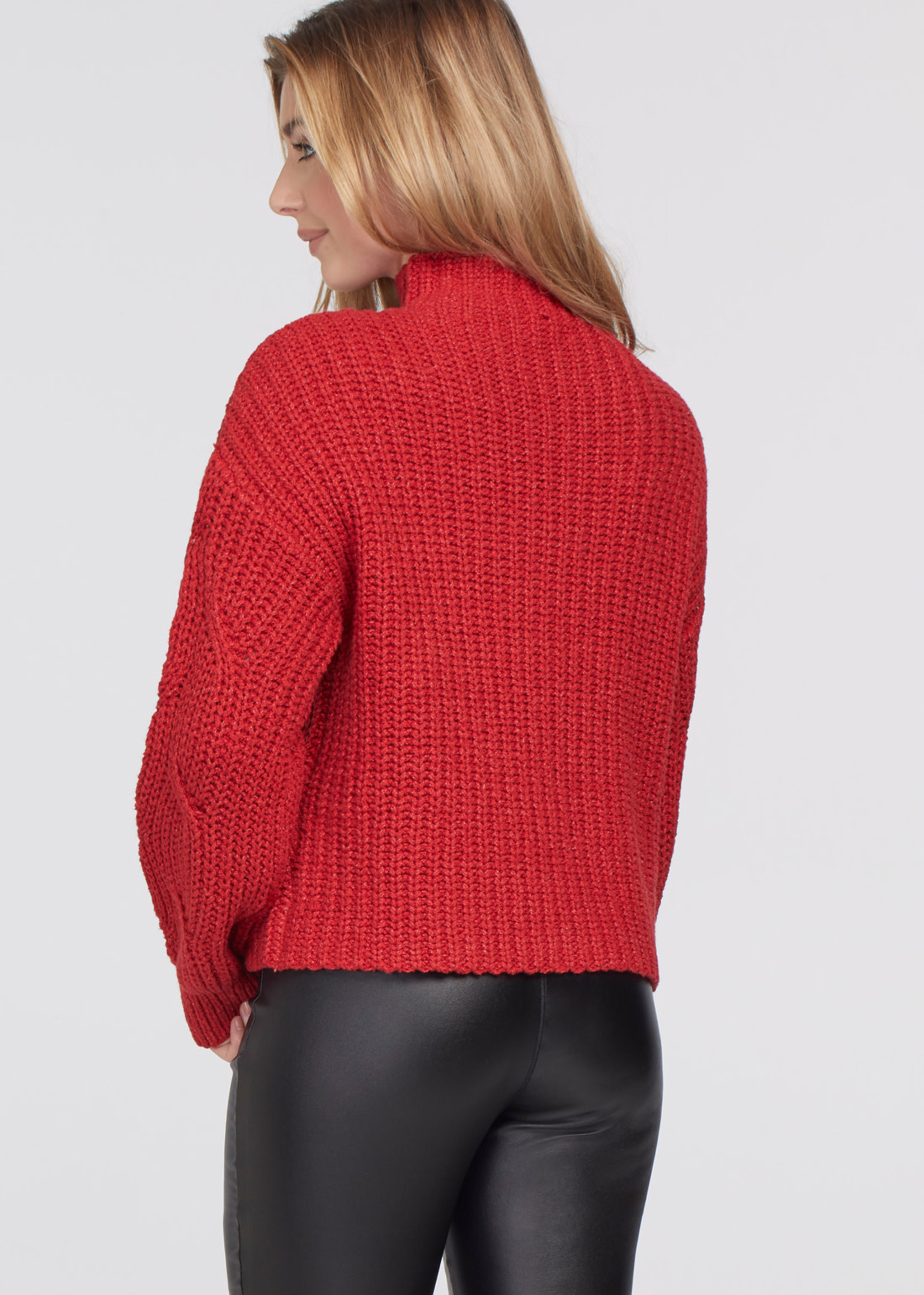 Tribal Tribal High Neck Oversize Sweater  Dark Red