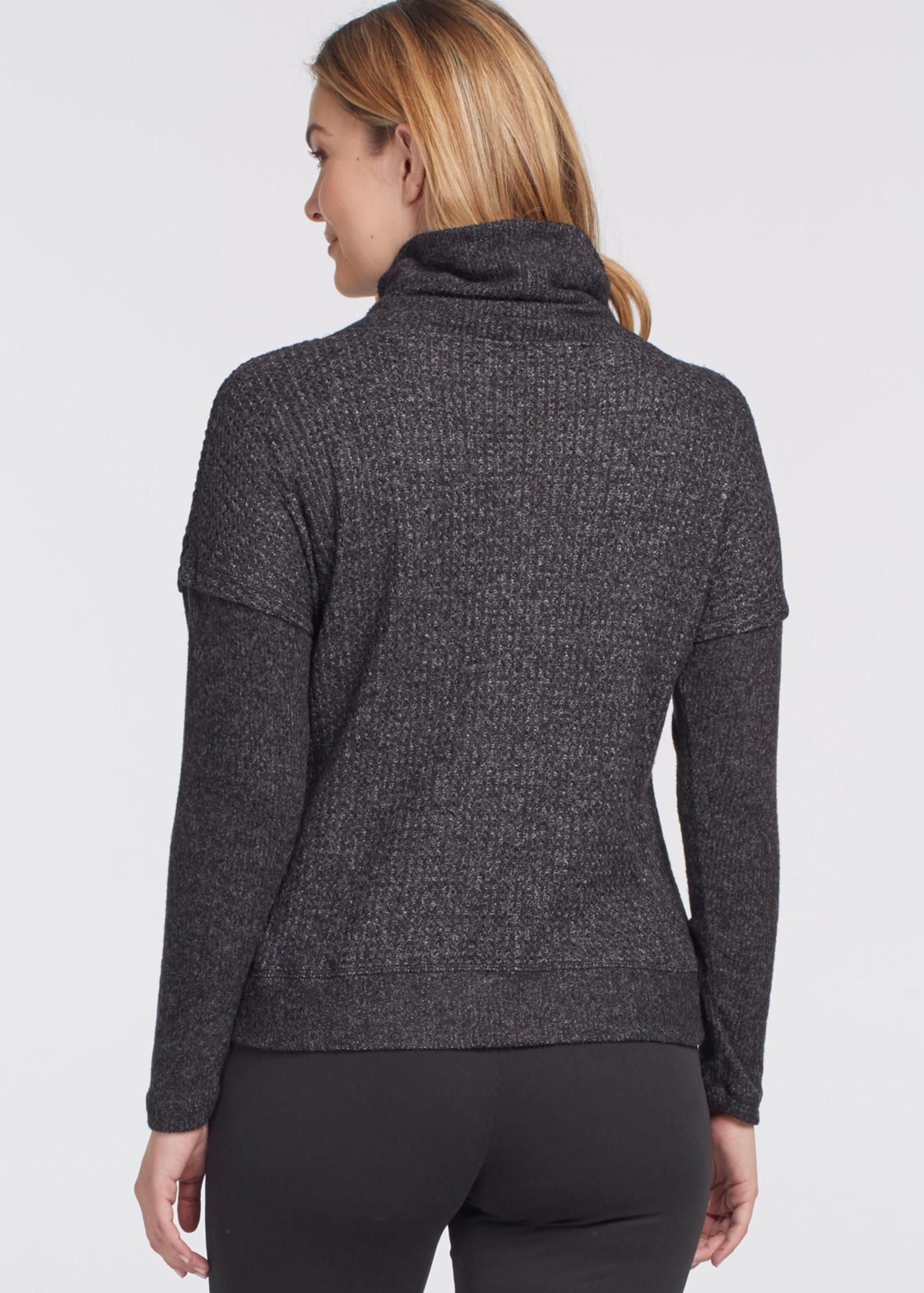 Tribal Tribal  Funnel Neck Sweater w/ Knit Details Black
