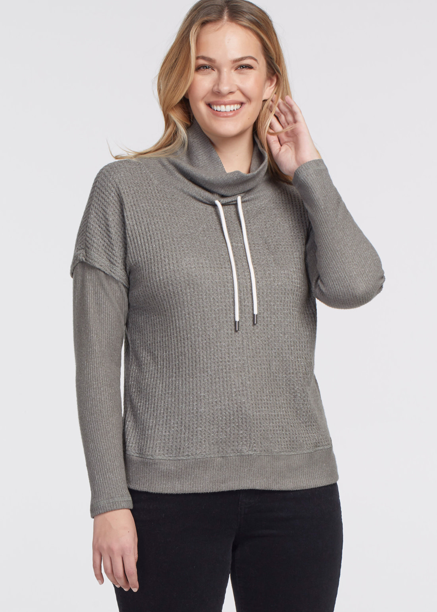 Tribal Tribal  Funnel Neck Sweater w/ Knit Details Dark Laurel