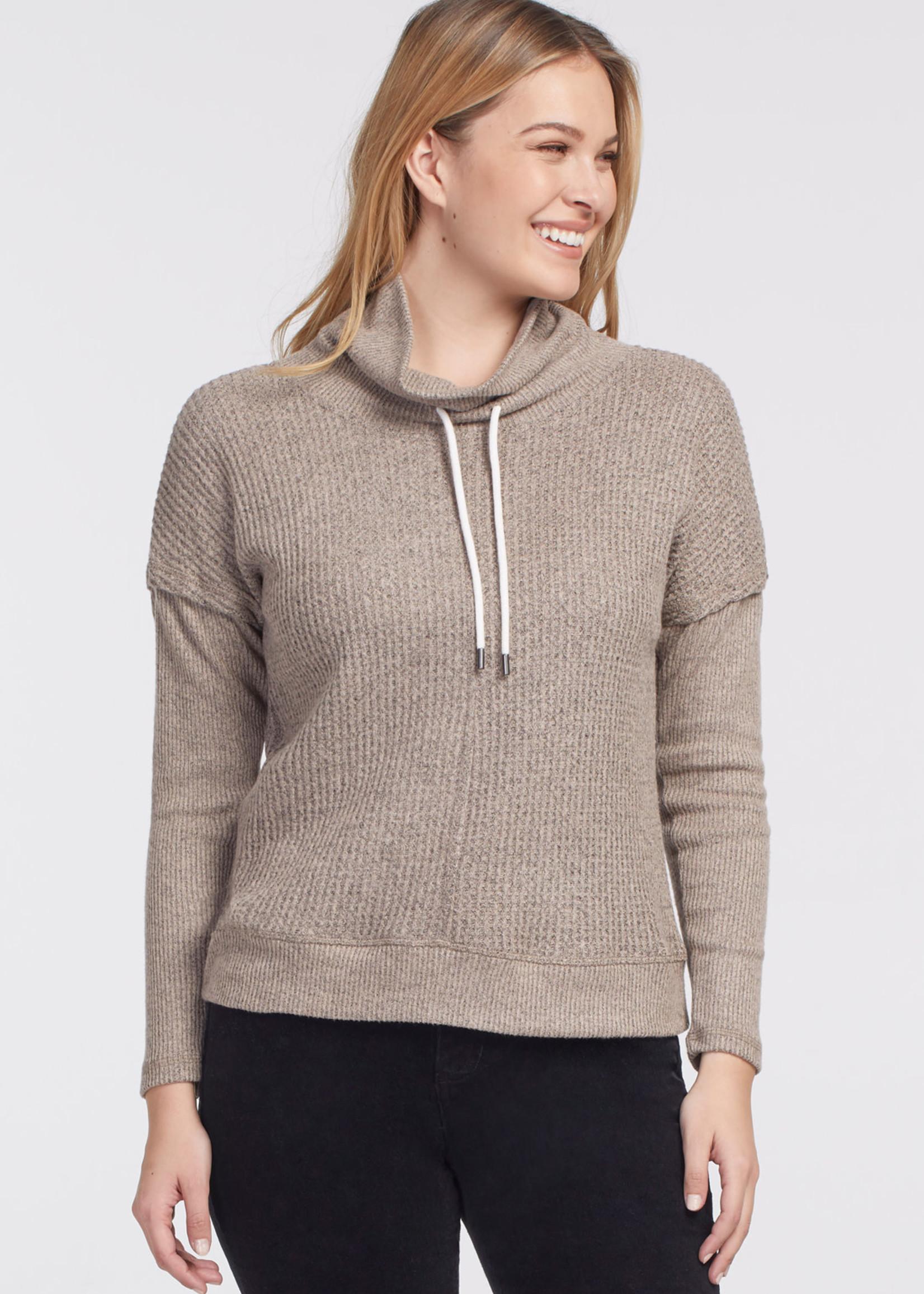 Tribal Tribal  Funnel Neck Sweater w/ Knit Details Oatmeal