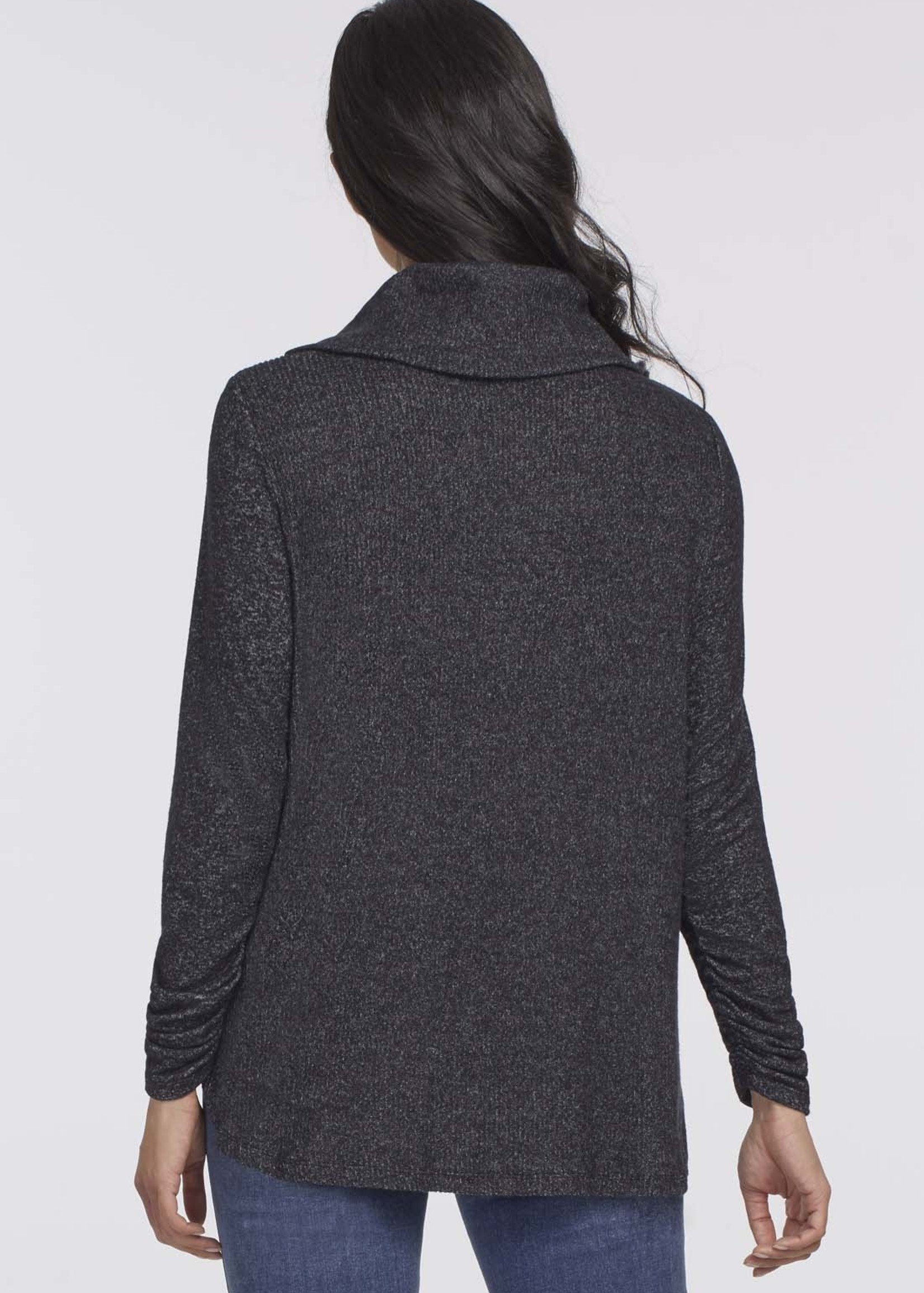 Tribal Tribal  Cowl Neck Sweater w/ Shirring Details  Black