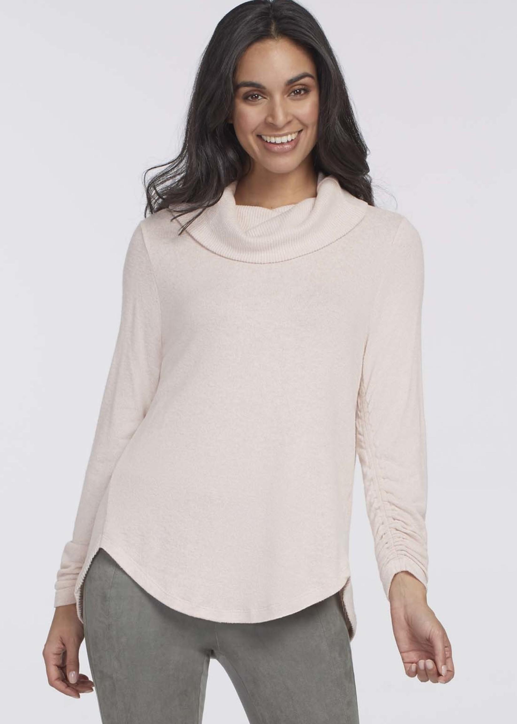 Tribal Tribal  Cowl Neck Sweater w/ Shirring Details  Blush