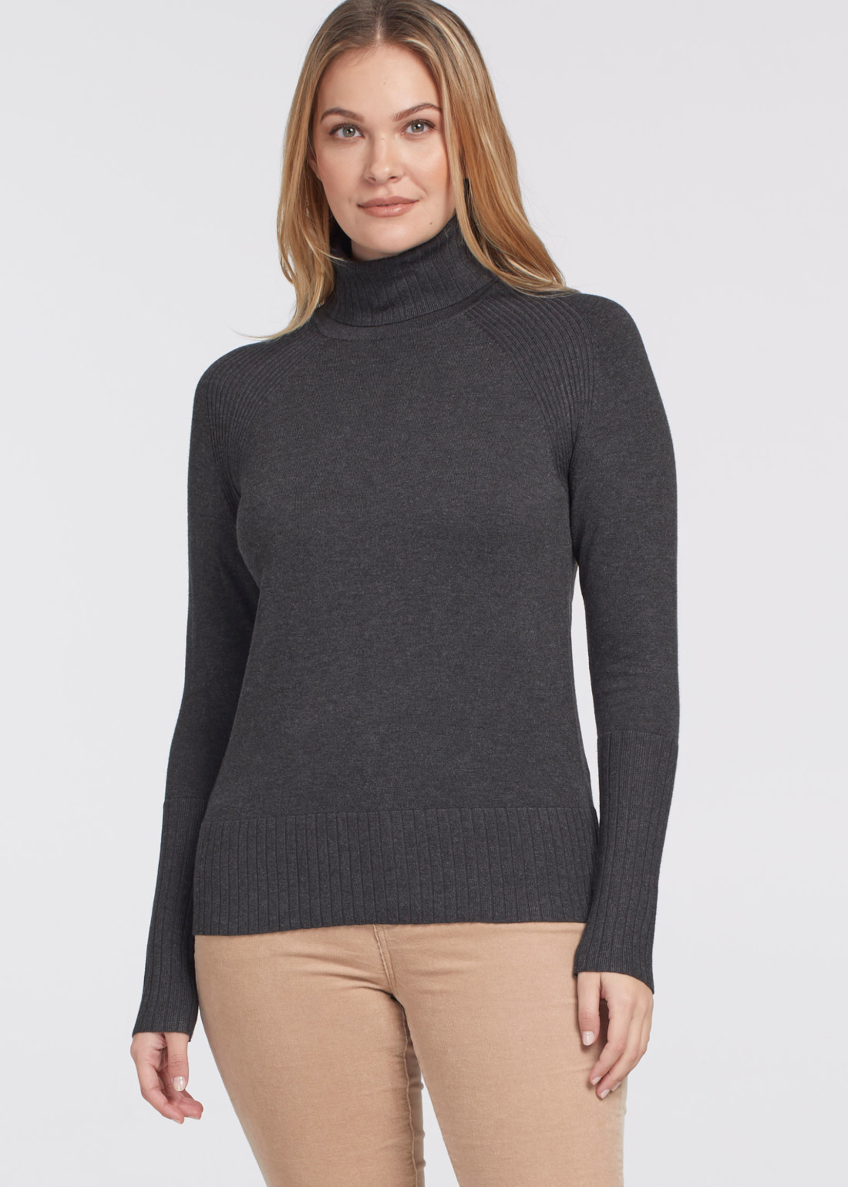 Tribal Tribal L/S Turtle Neck  Charcoal