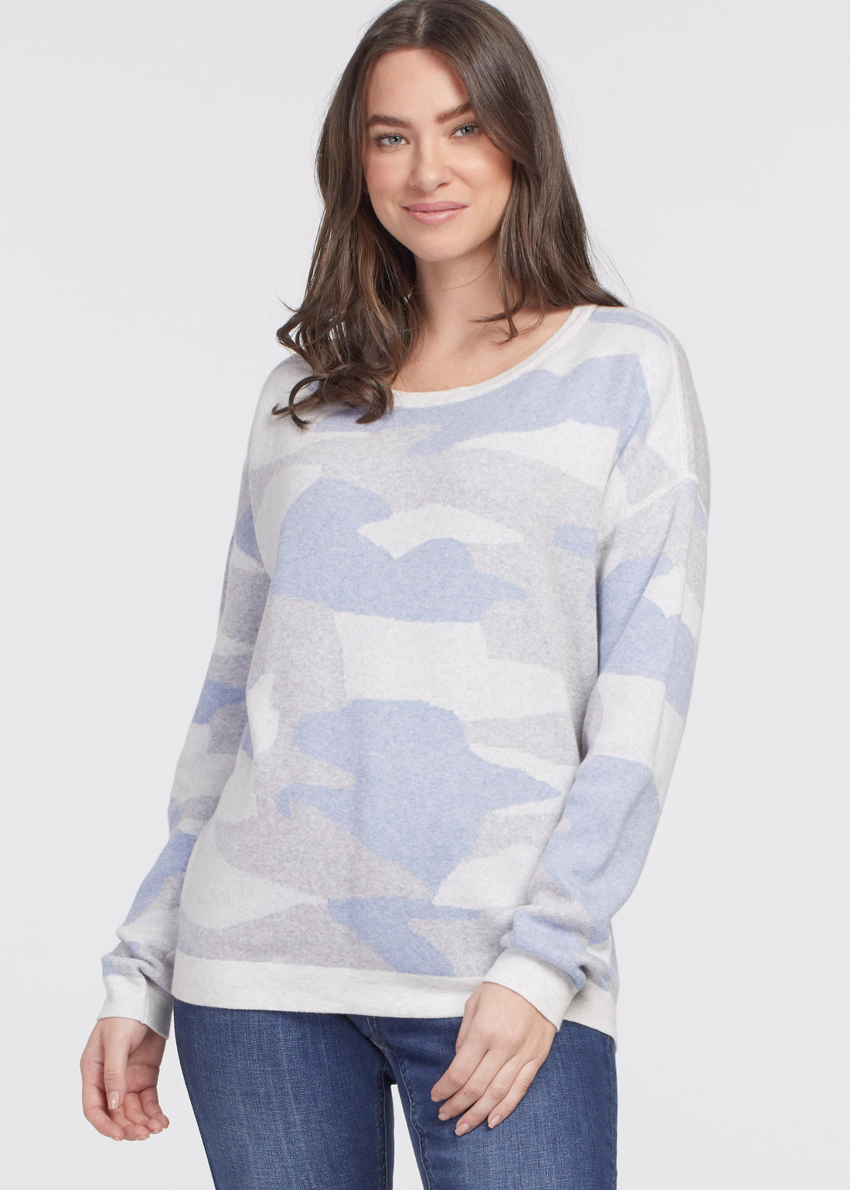 Tribal Reversible Sweater  Icy Blue
