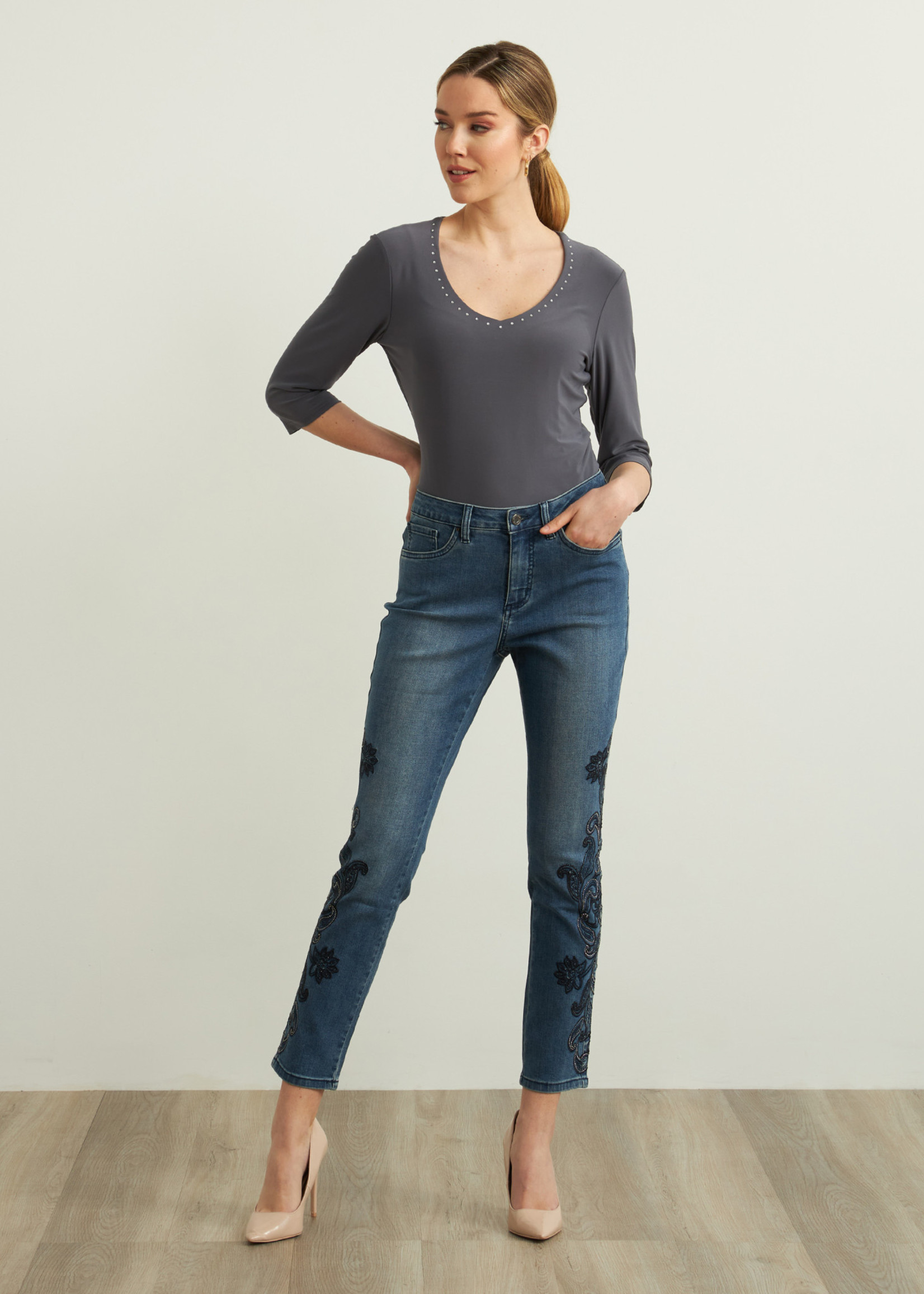 Joseph Ribkoff Joseph Ribkoff Jeans w/Beaded Embroidery
