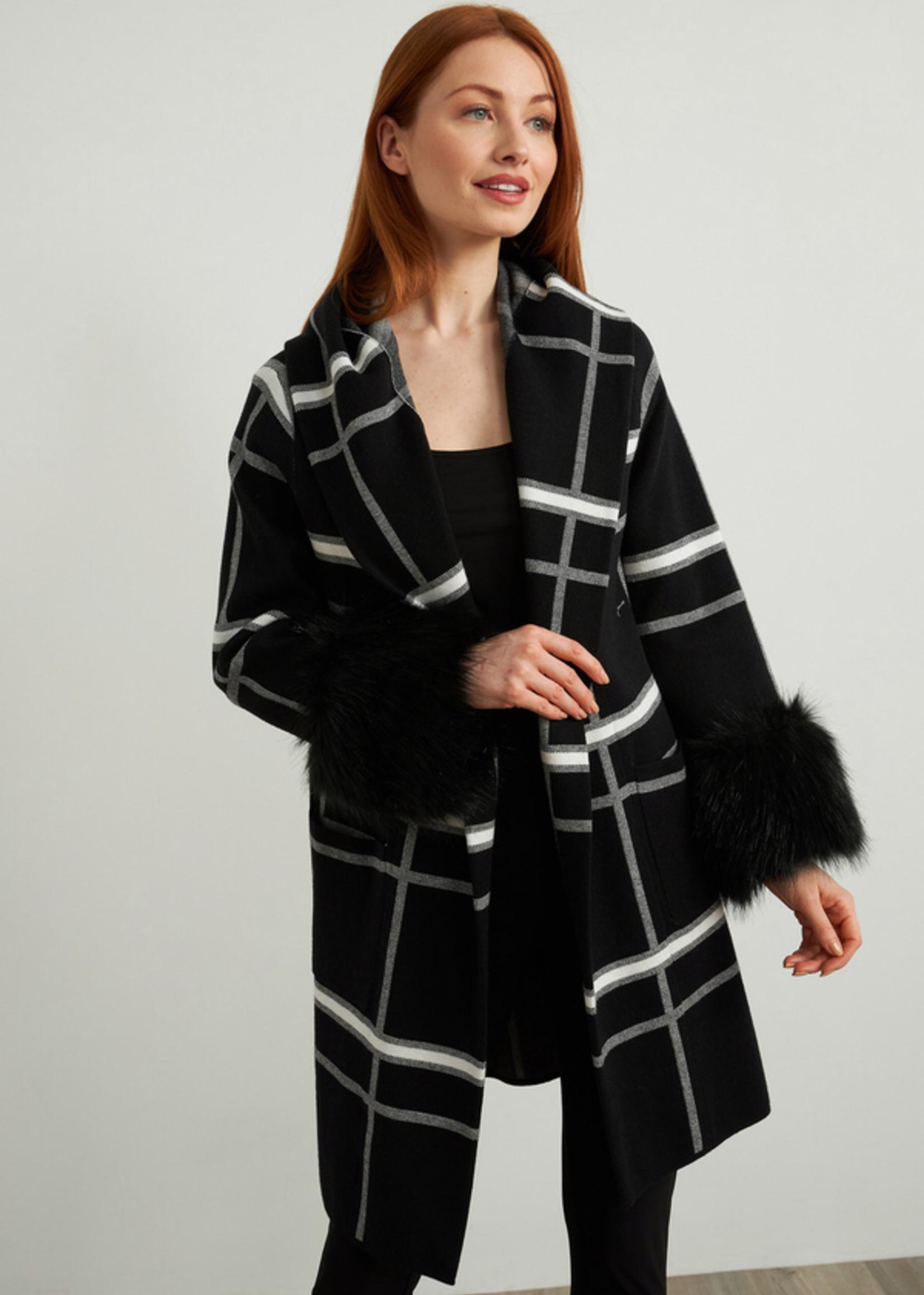 Joseph Ribkoff Joseph Ribkoff Plaid Coat with Faux Fur Cuffs