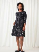 Sympli Sympli Trapeze Dress Short Drifting Lines/Black