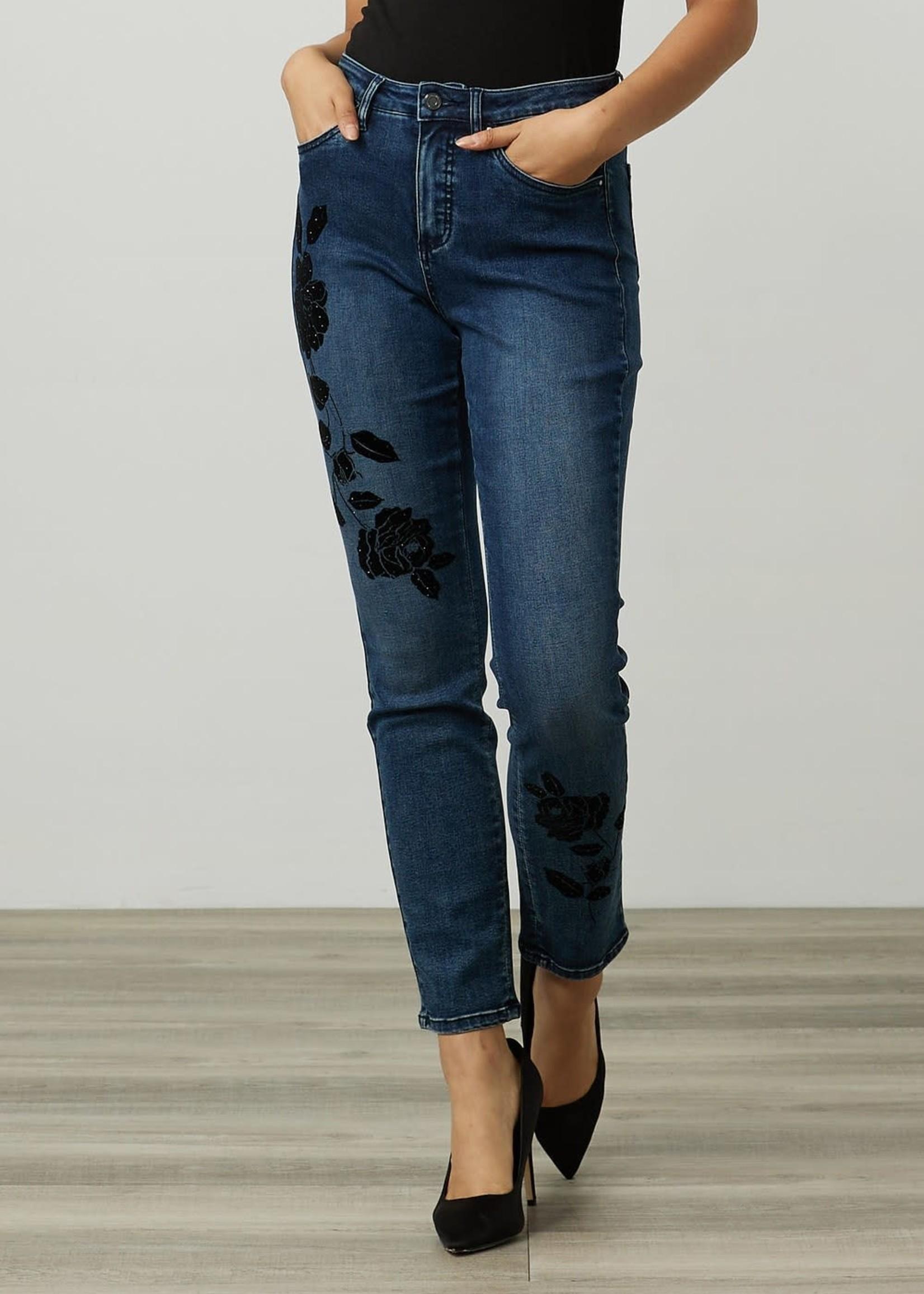 Joseph Ribkoff Joseph Ribkoff Beaded Rose Motif Jeans