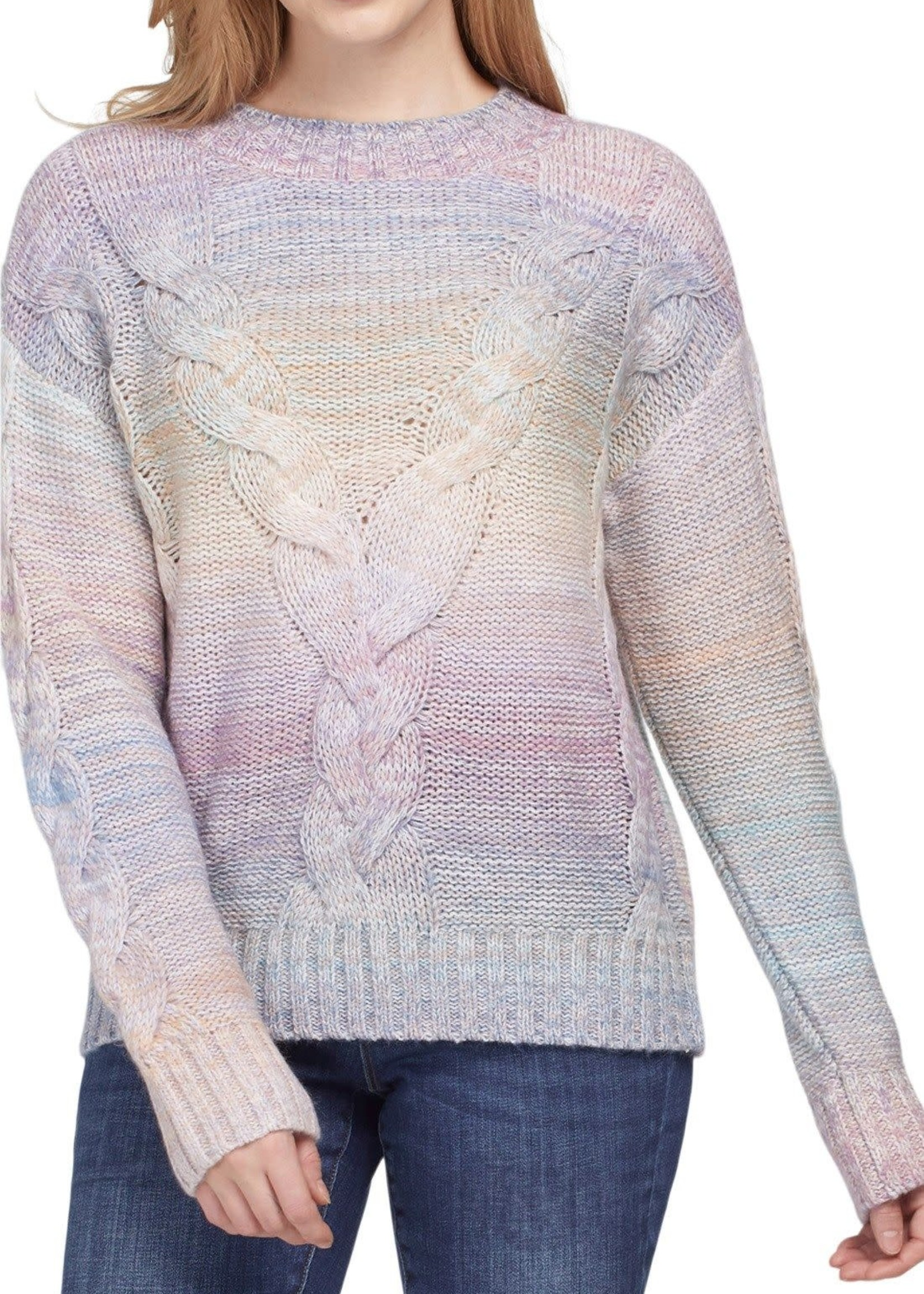 Tribal Tribal Mock Neck Sweater w/Cables