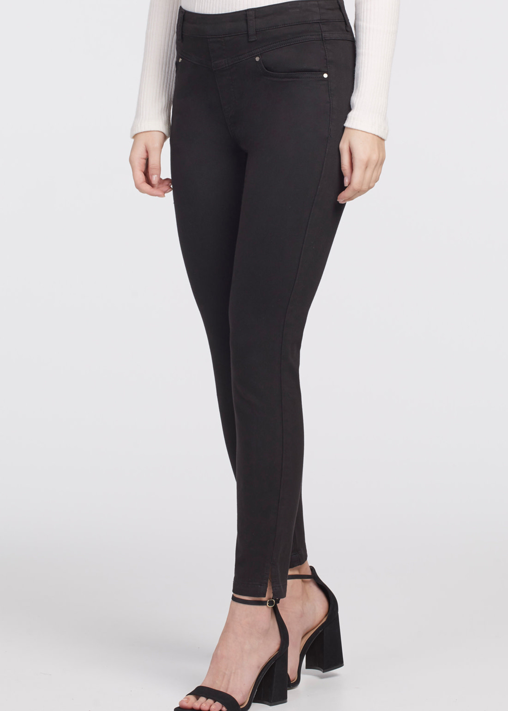 Tribal Tribal Pull On Ankle Pant w/Front Yoke Black