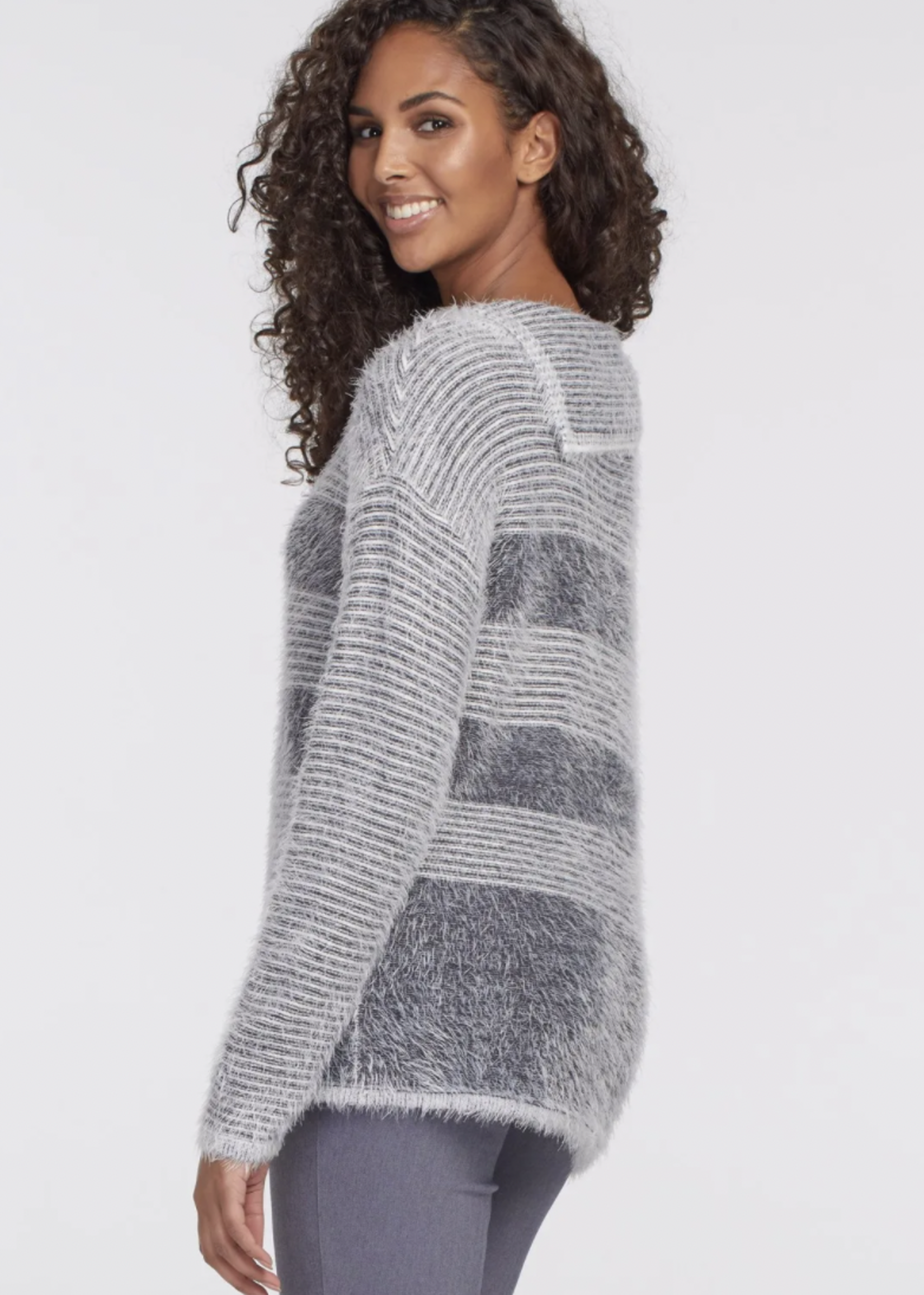 Tribal Tribal Open Cowl Neck Sweater Grey Mix