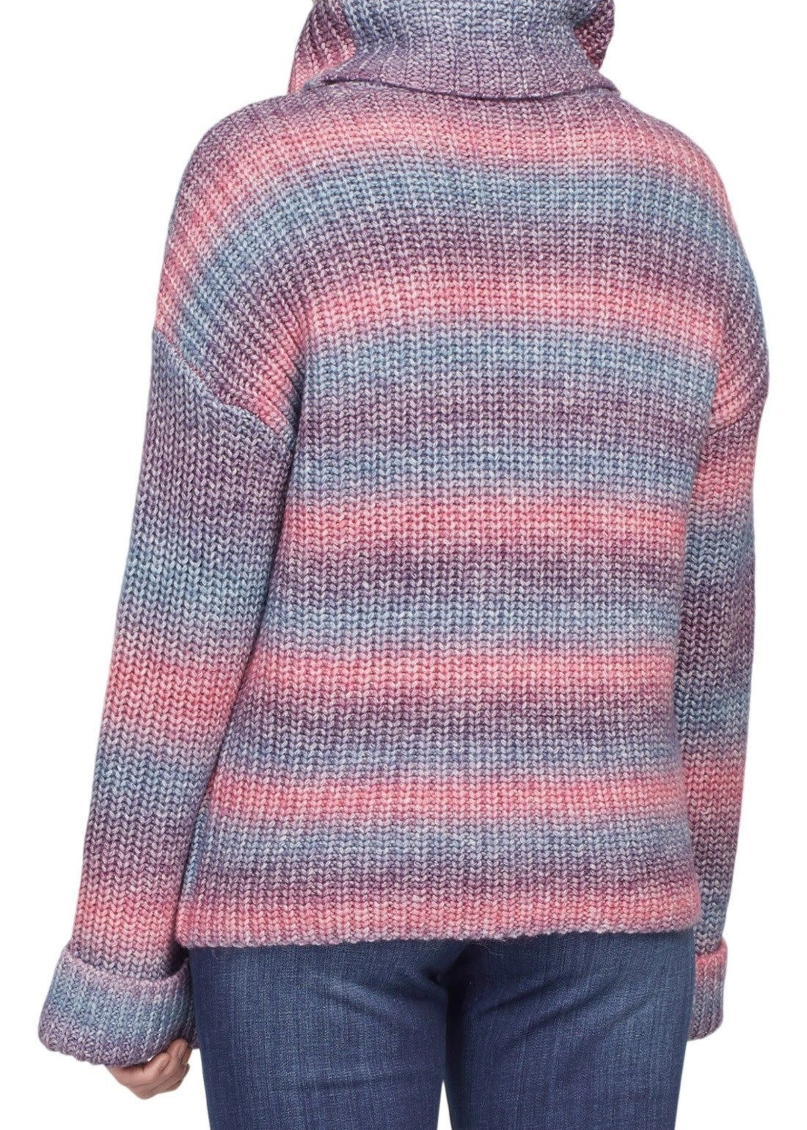 Tribal Tribal Cowl Neck L/S Sweater  Blue Frosting