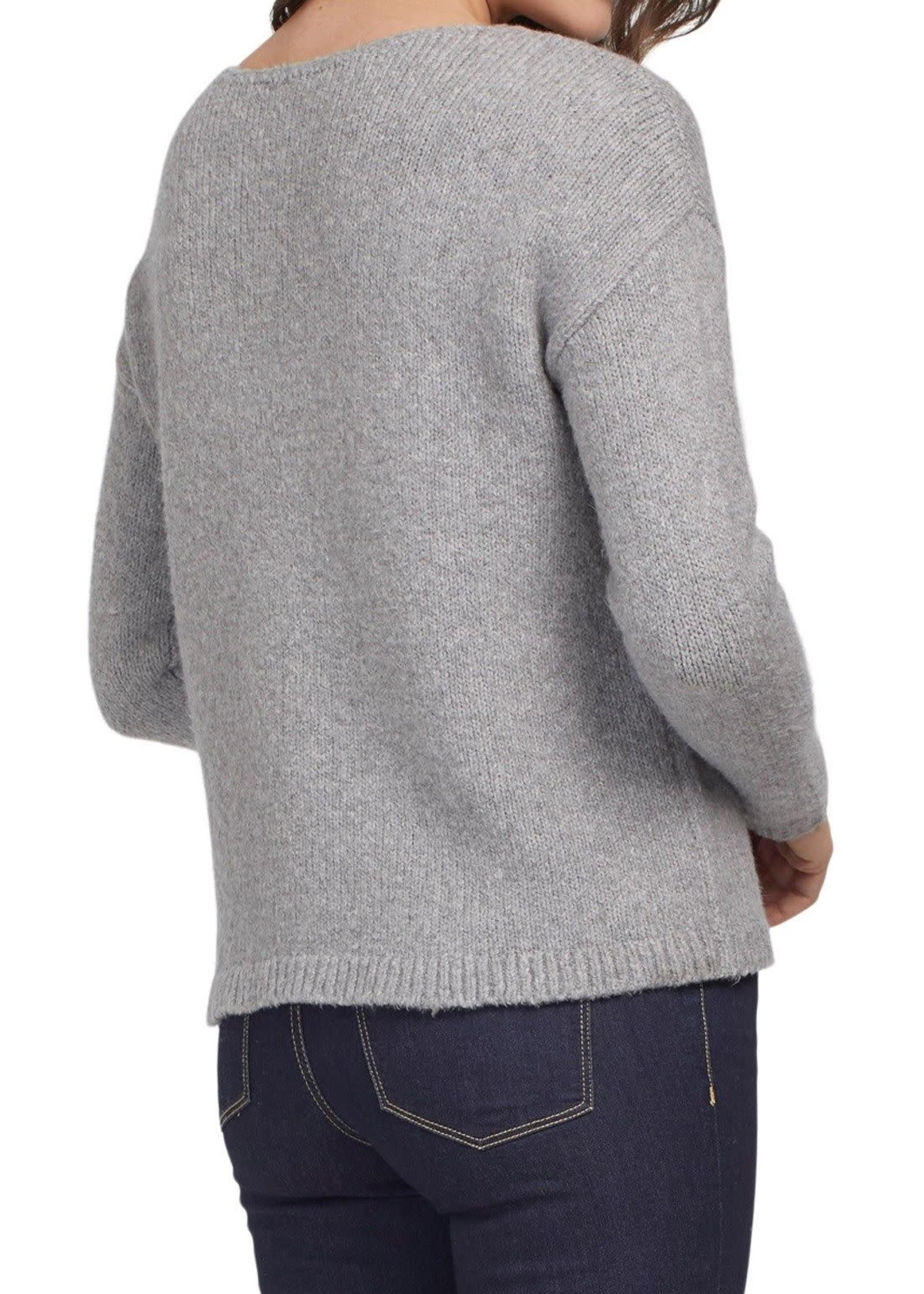 Tribal Tribal L/S Intarsia Sweater Grey Mix