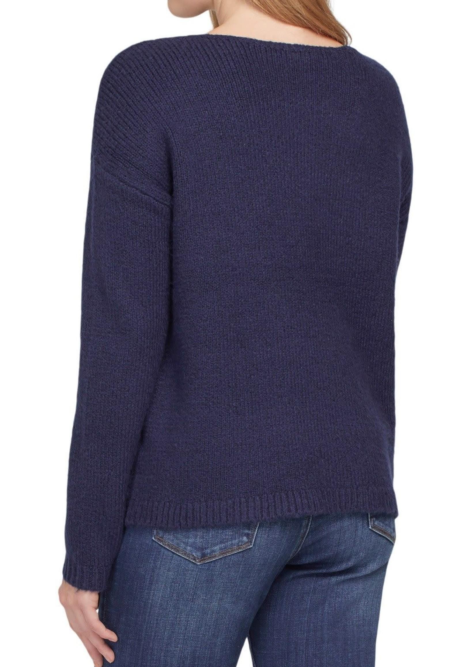 Tribal Tribal L/S Intarsia Sweater Nautical
