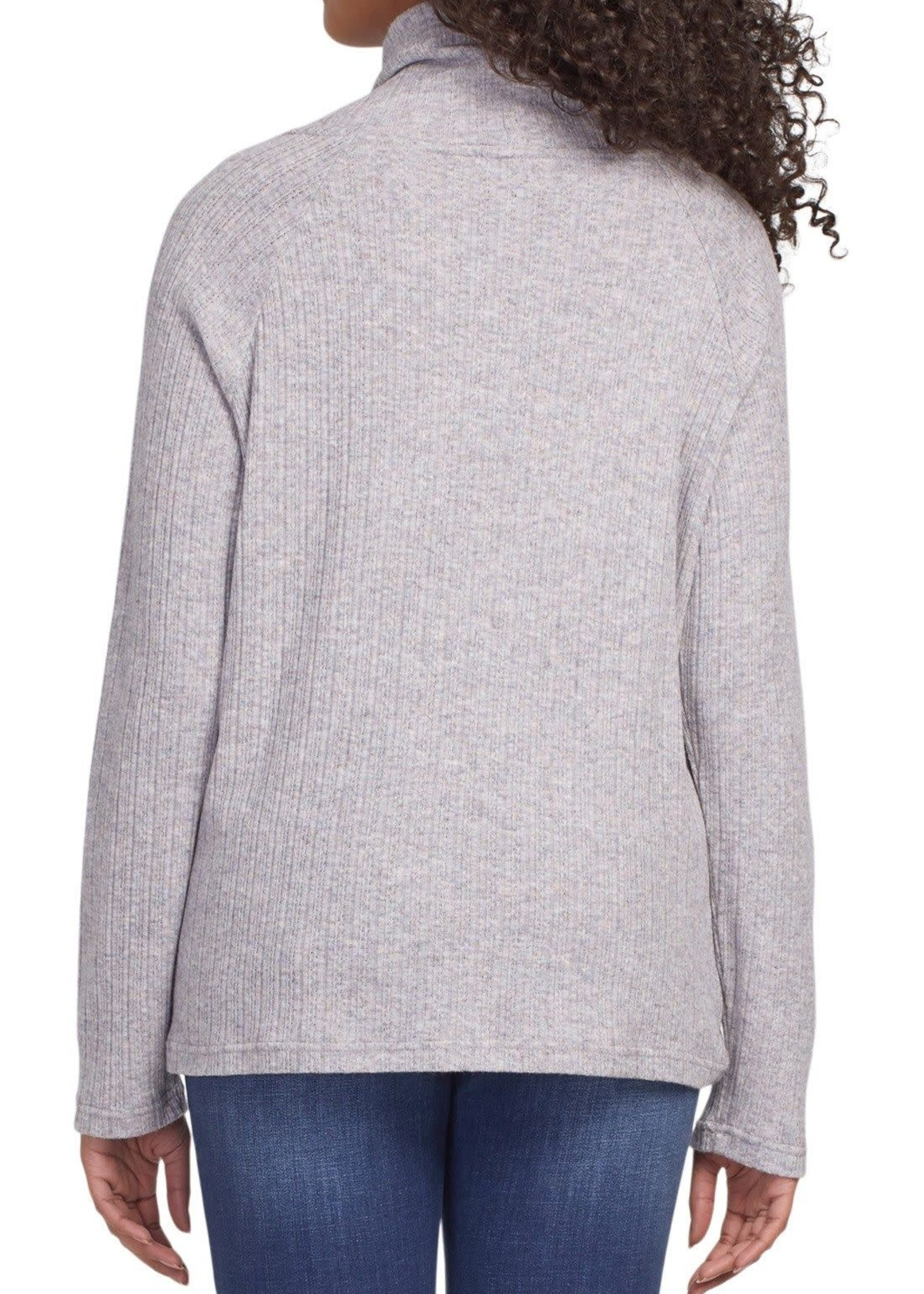 Tribal Tribal L/S Funnel Neck Top Grey Mix