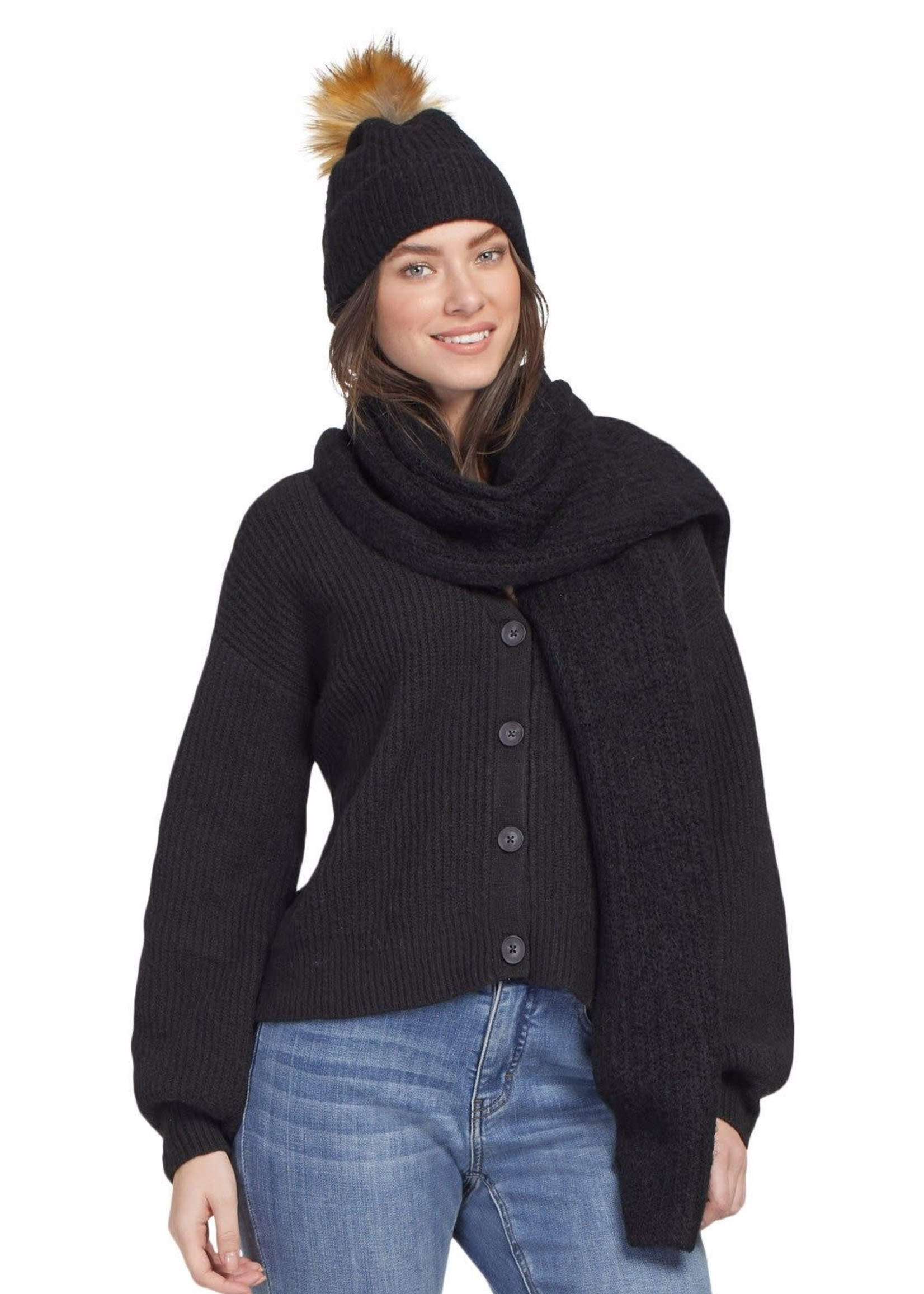 Tribal Tribal Scarf and Hat Set  BLK