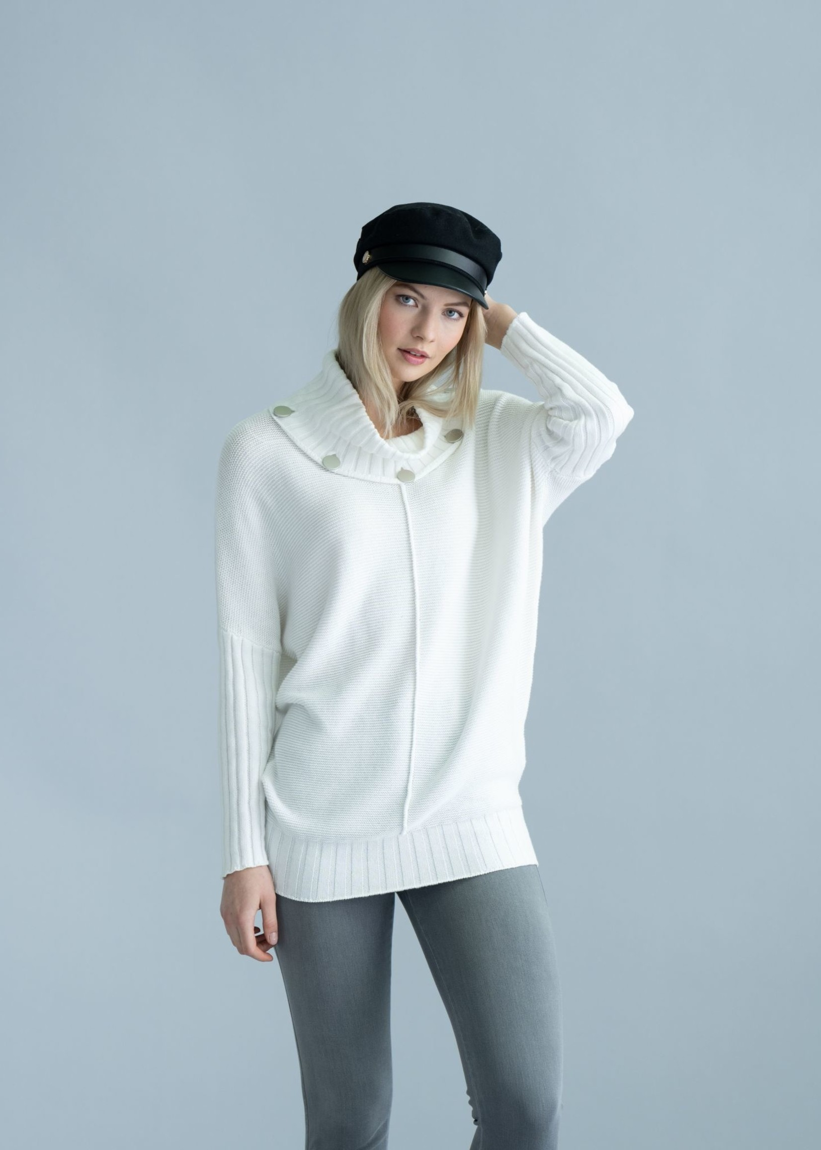 Marble Marble Cowl Neck  Sweater   Cream