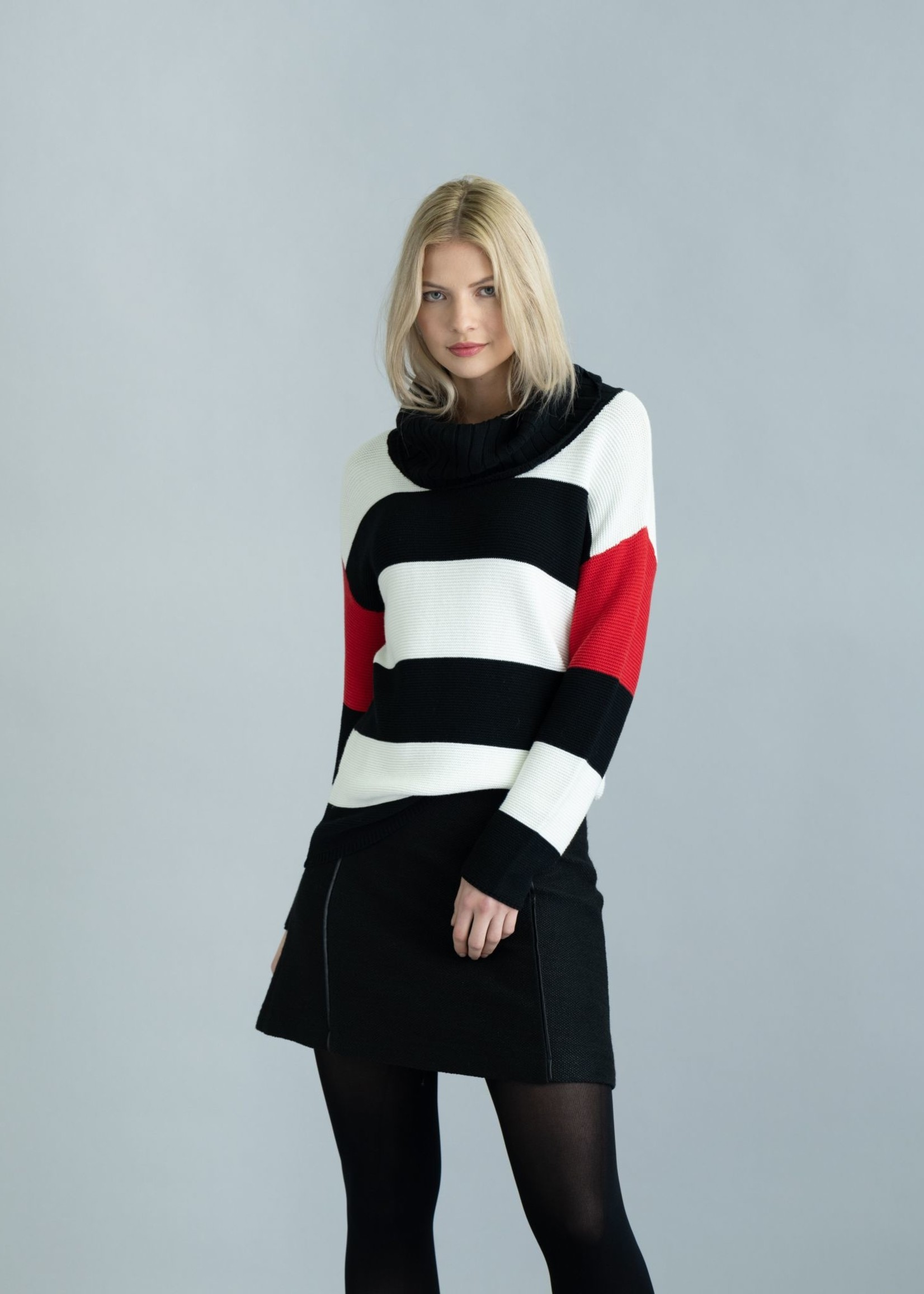 Marble Marble Long Striped T-Neck  Red/Black