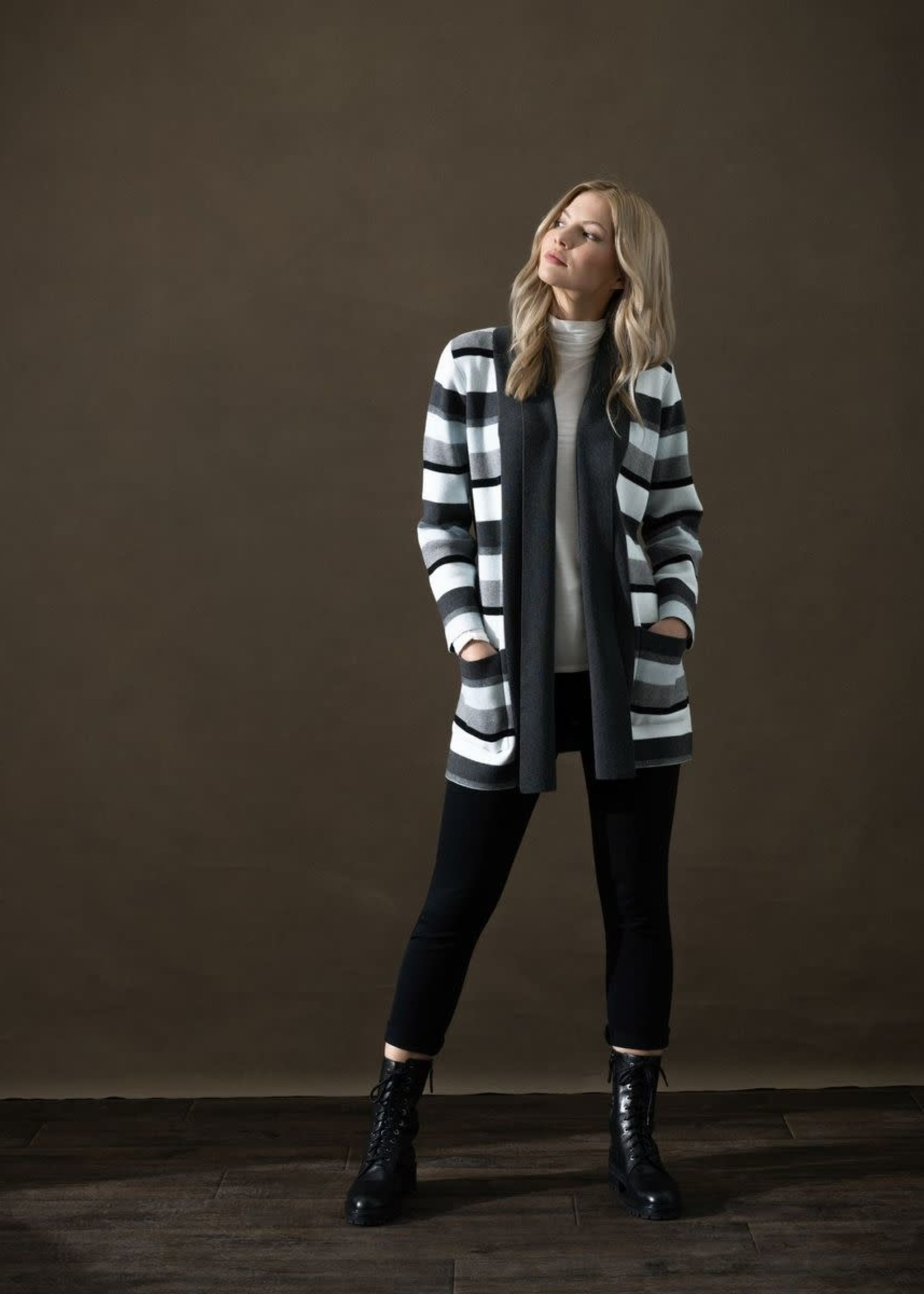 Marble Marble Striped Cardigan Ice Blue