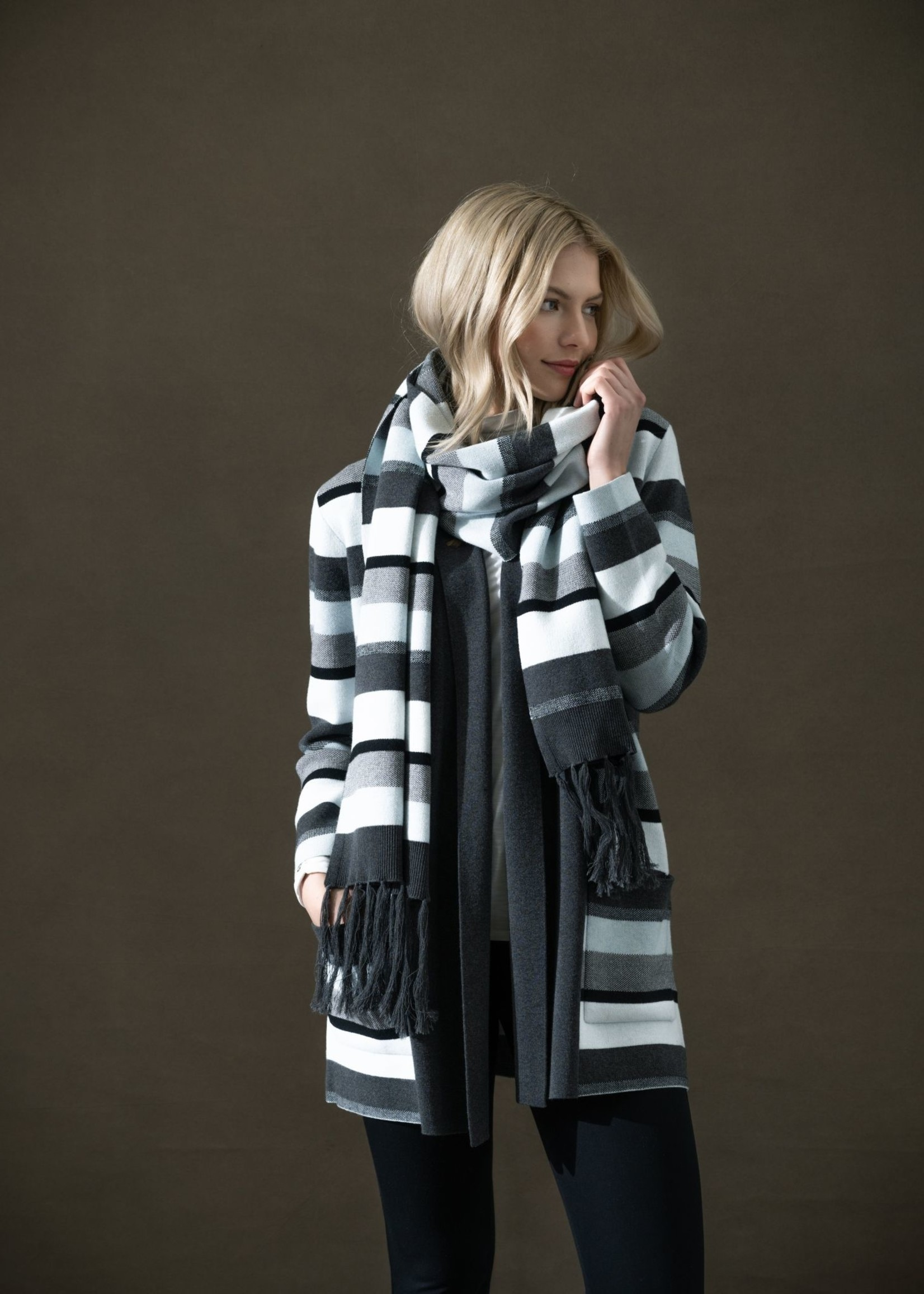 Marble Marble Striped Scarf Ice Blue