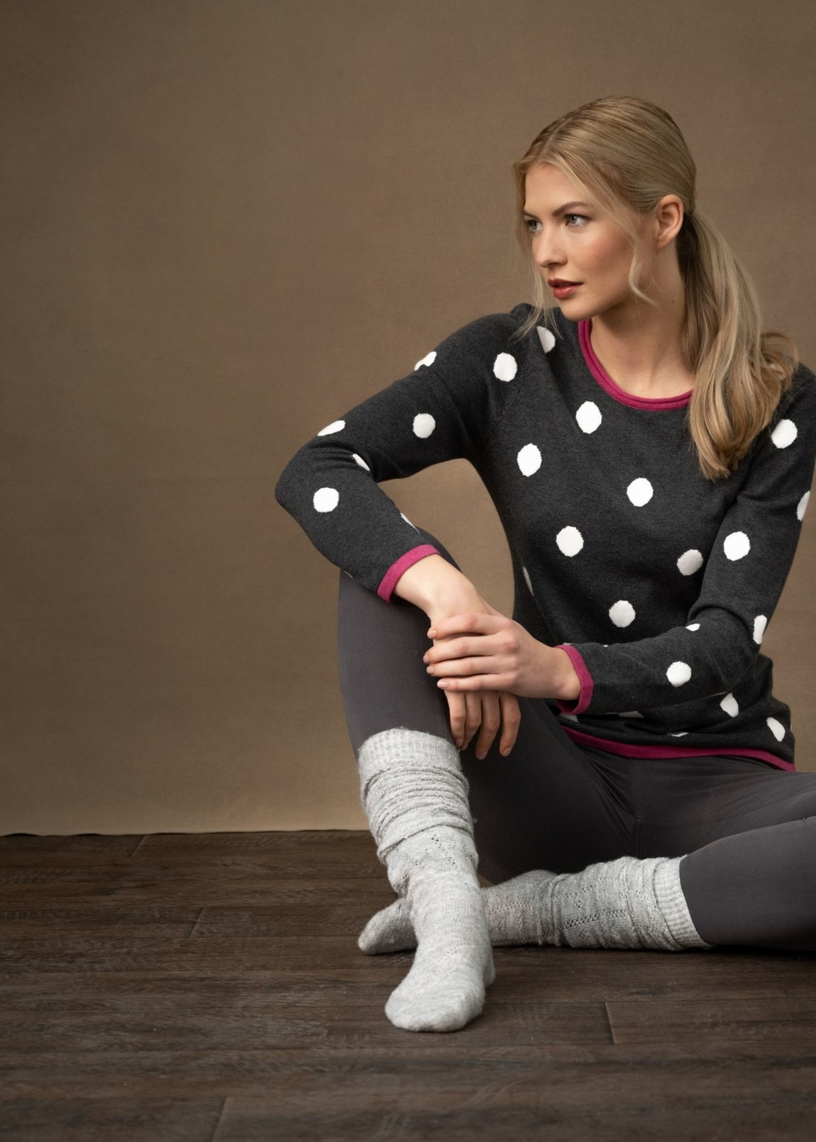 Marble Marble Polka Dots Sweater  Fuchsia