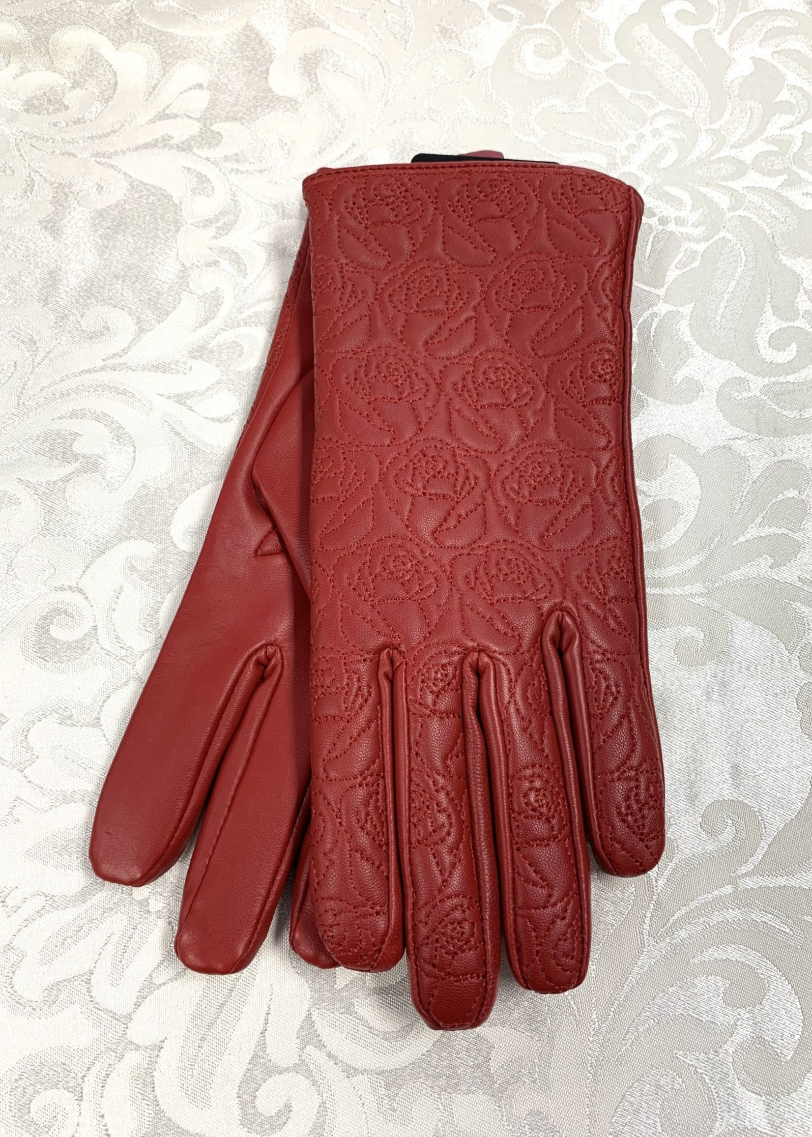 Albee Leather Gloves  Red