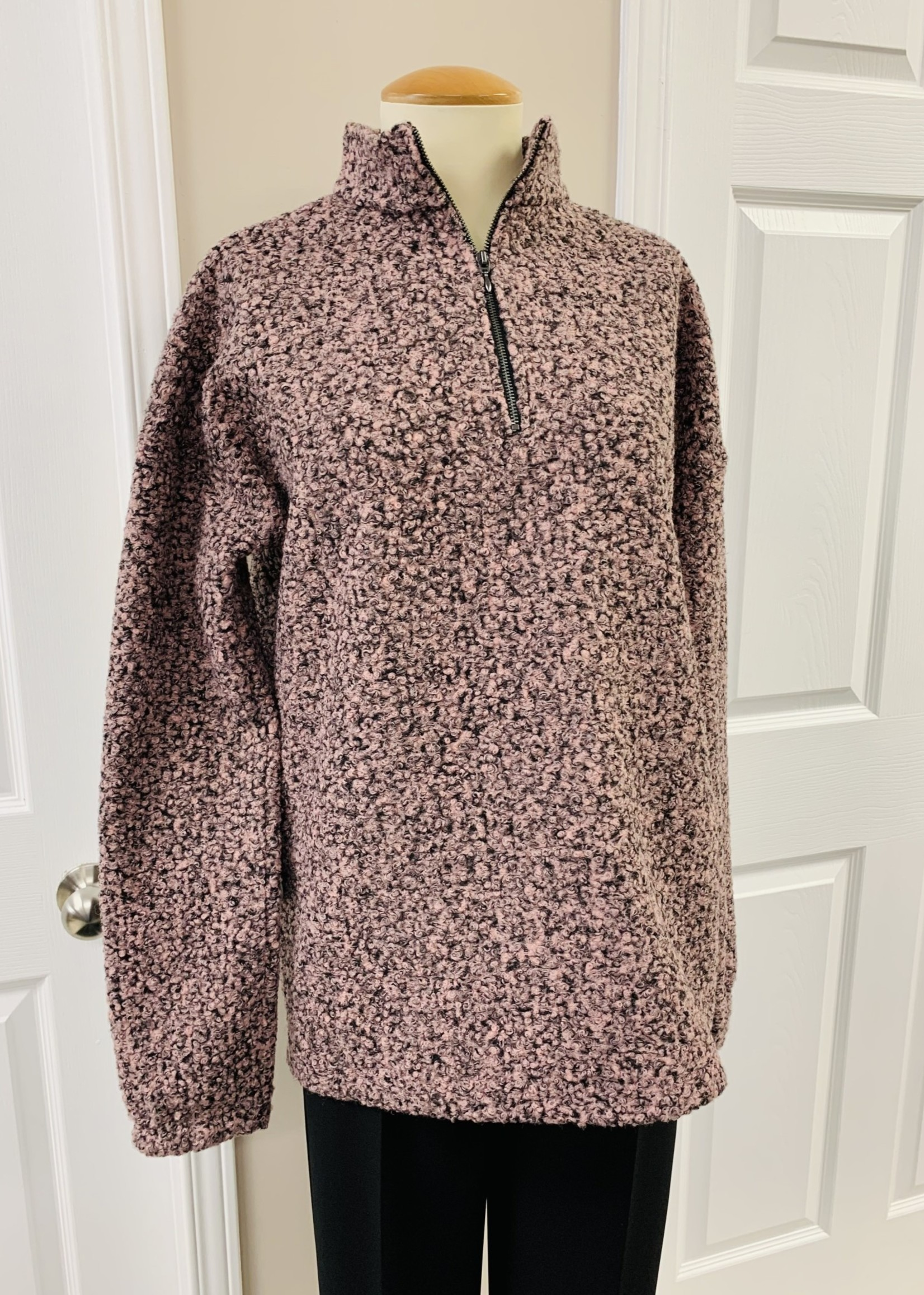 ISCA ISCA Pink and Brown Boucle Knit Half Zipper Top