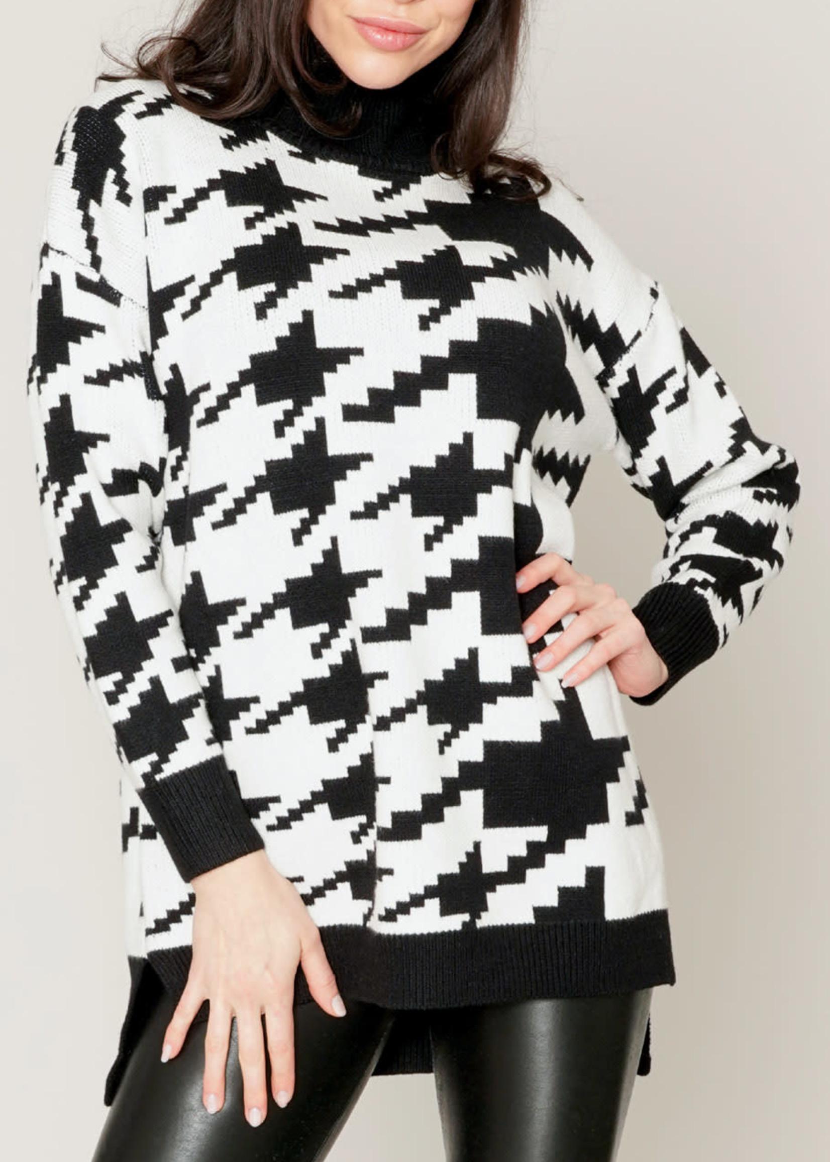 Funsport Funsport Houndstooth Sweater Black/White