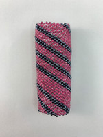 Circle of Eagles Beaded Lighter Case - Gunmetal and Clear Lined Pink