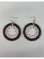 Circle of Eagles Beaded Earrings Dreamcatcher Hoops Silver Lined Red and Black