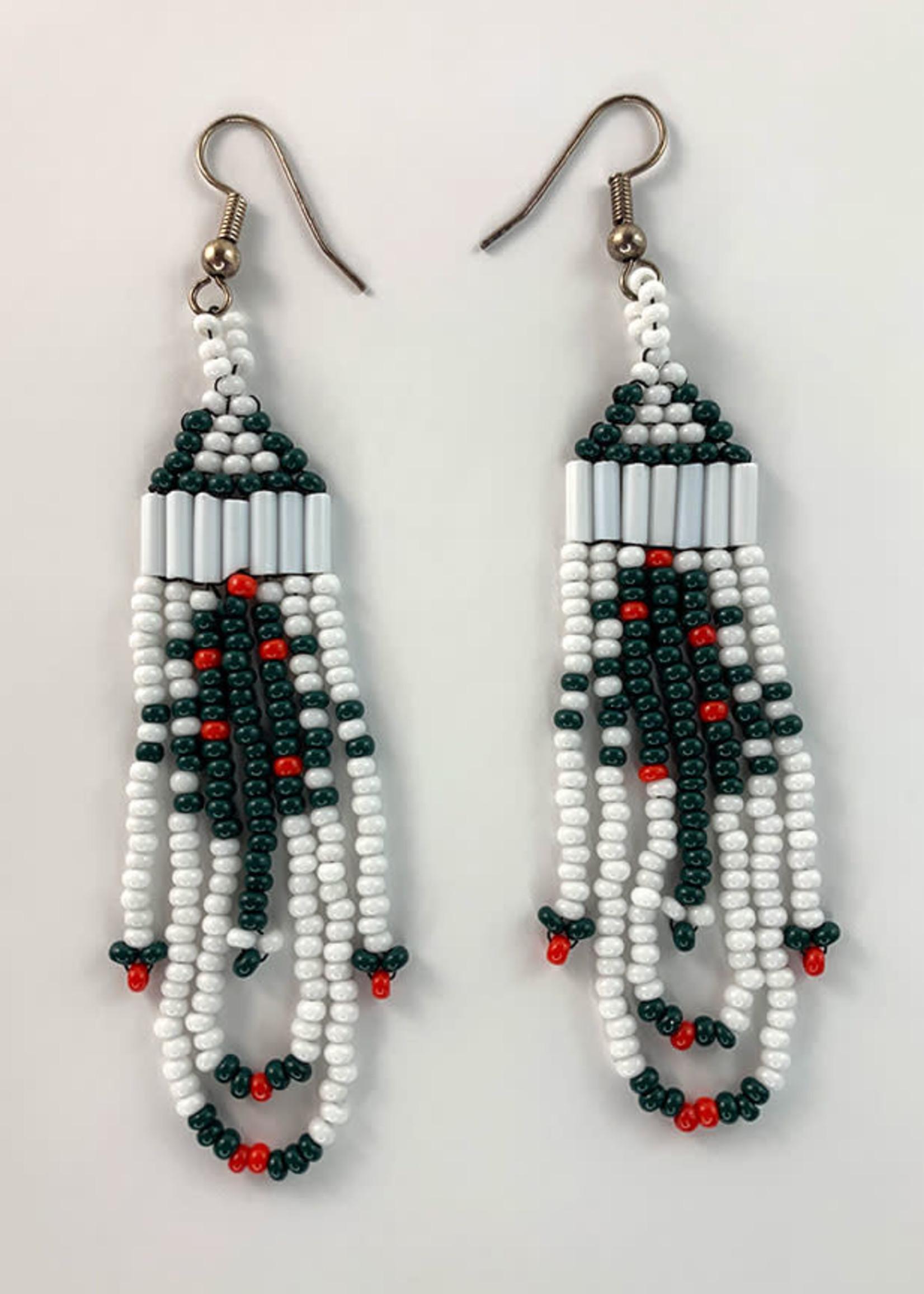 Circle of Eagles Beaded Earrings - Xmas Tree