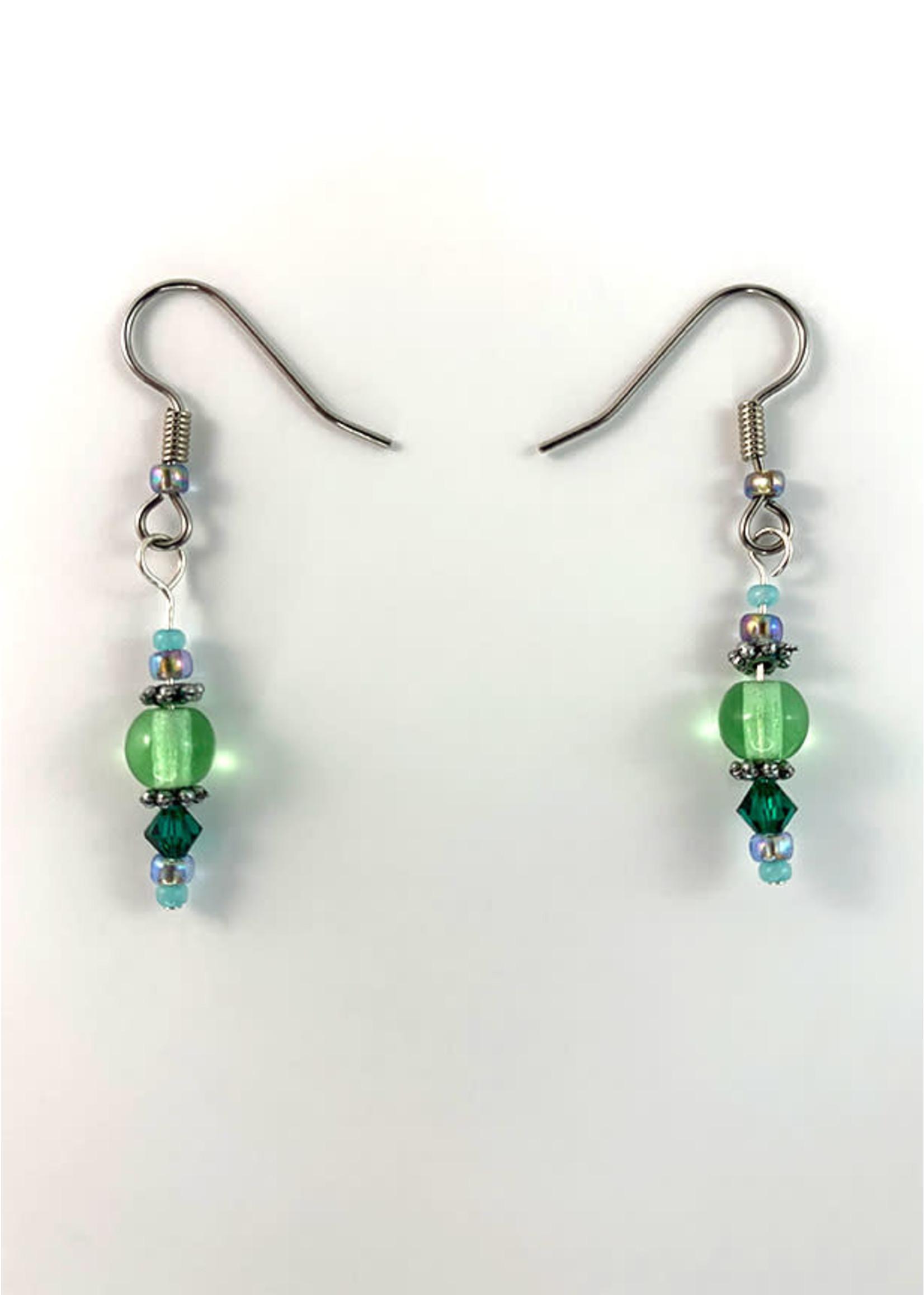 Circle of Eagles Beaded Earrings - Green & Blue