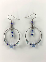 Circle of Eagles Beaded Earrings Hoops - Blue and White Beads