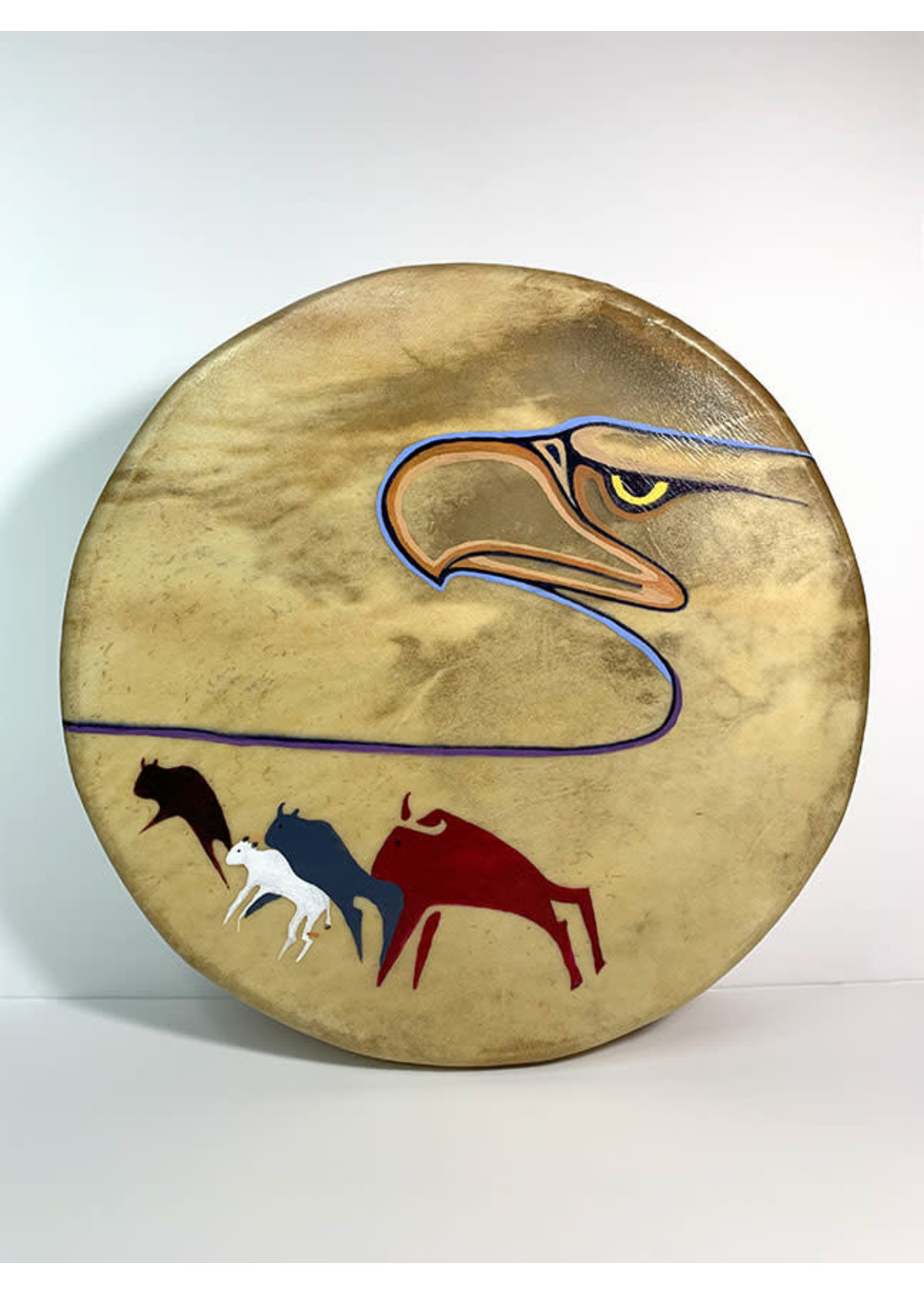 Circle of Eagles Eagle & Figures Painted Drum