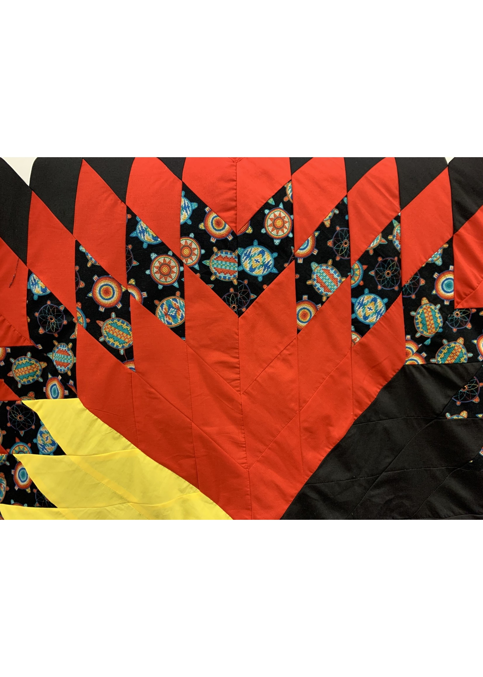 Circle of Eagles Red Black Yellow and White Star Blanket