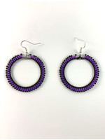 Beaded Earrings Hoops Silver Lined Purple and Black