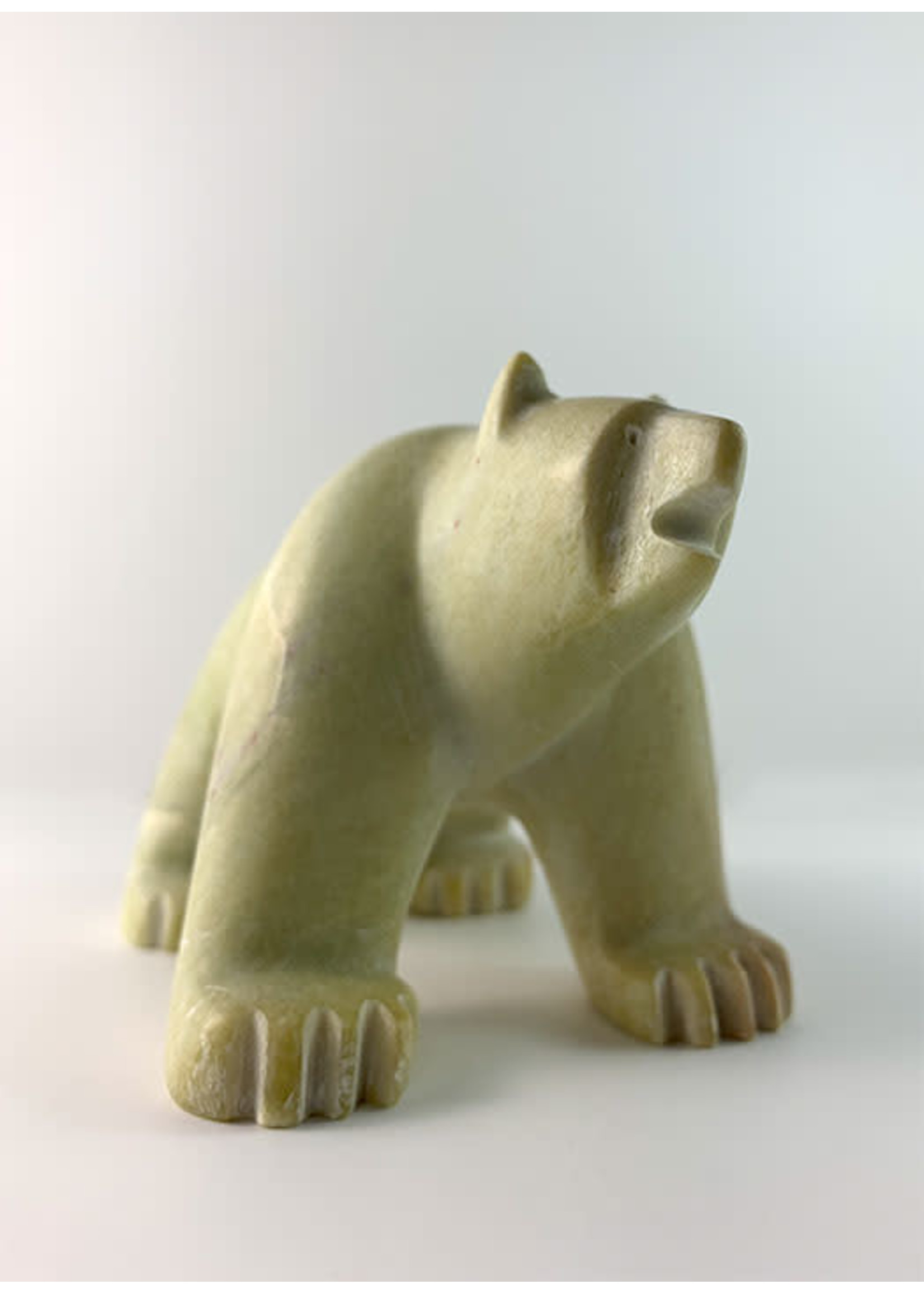 Howard Moose Soapstone Carved White Bear