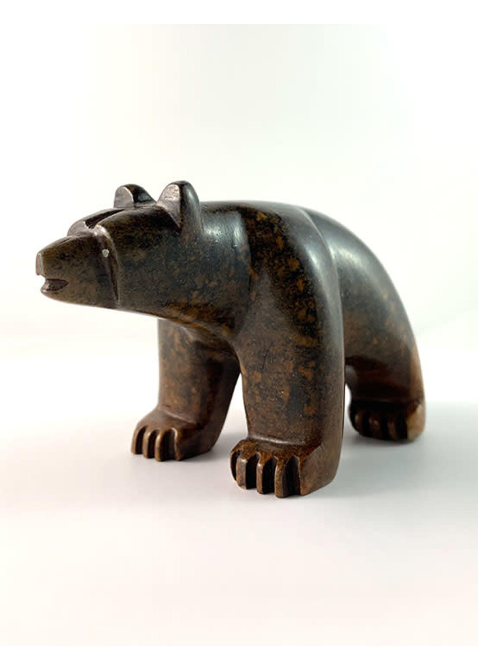 Howard Moose Soapstone Carved Dark Brown Bear