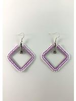 Beaded Earrings Diamond Shape Purple & White