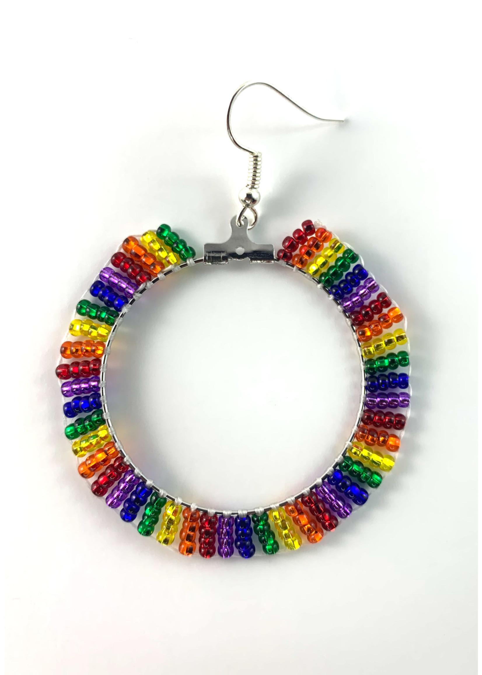 Beaded Earrings Hoops Silver Lined Rainbow