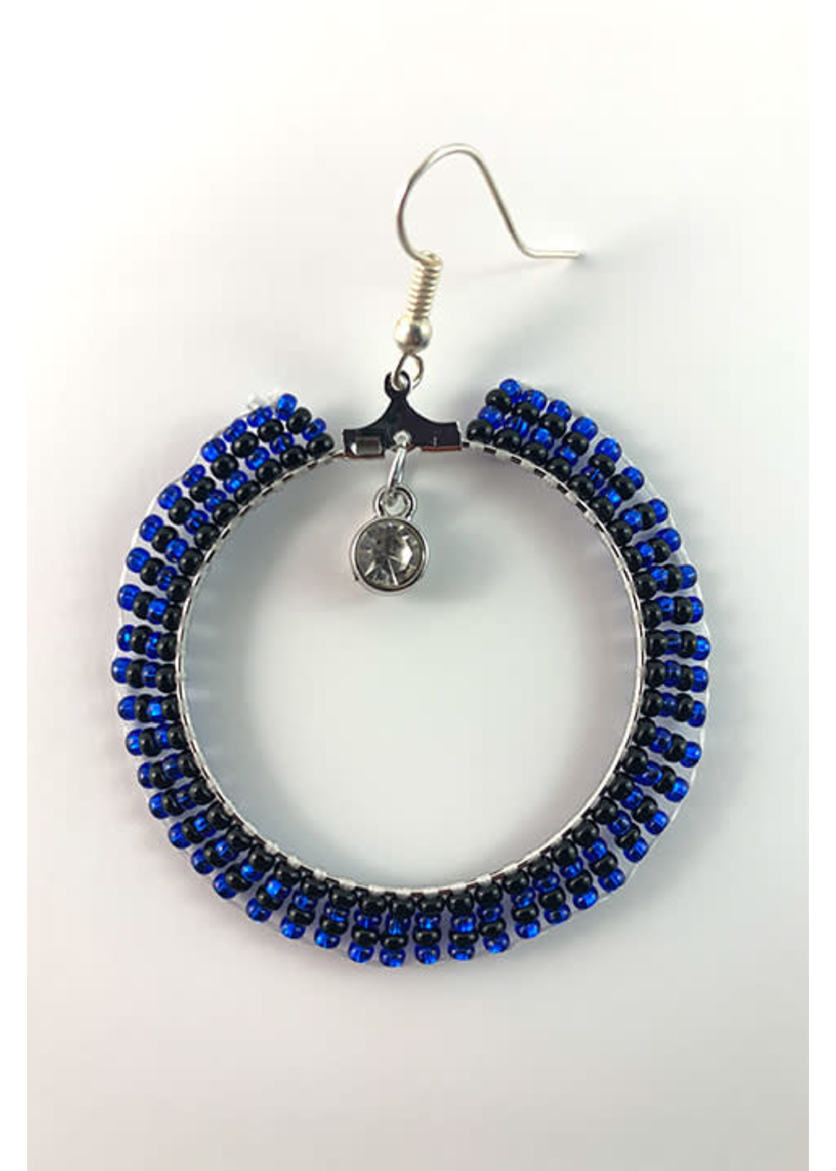 Beaded Earrings Hoops Silver Lined Blue and Opaque Black with Jewel (SOLD)