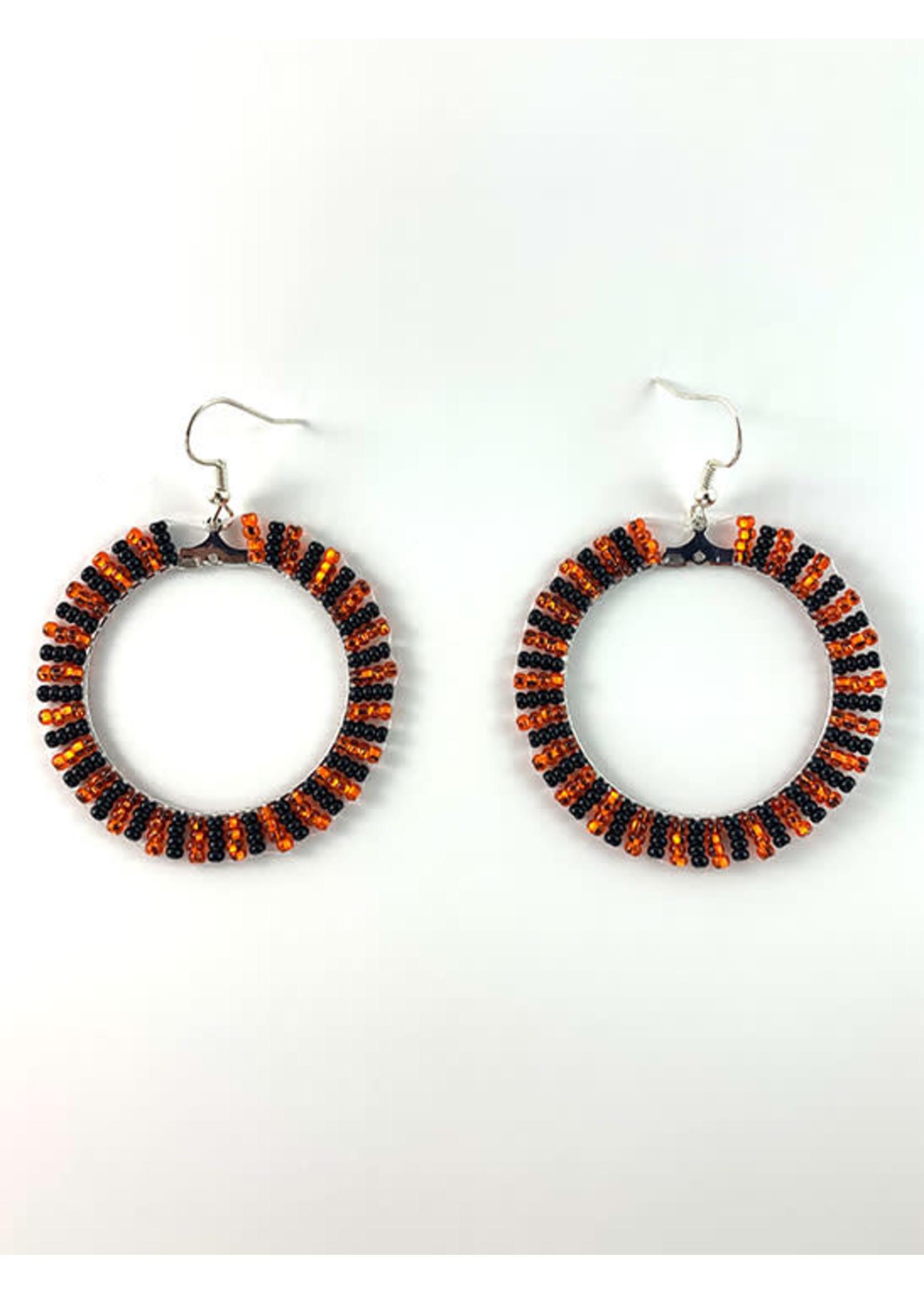 Beaded Earrings Hoops Silver Lined Orange and Opaque Black